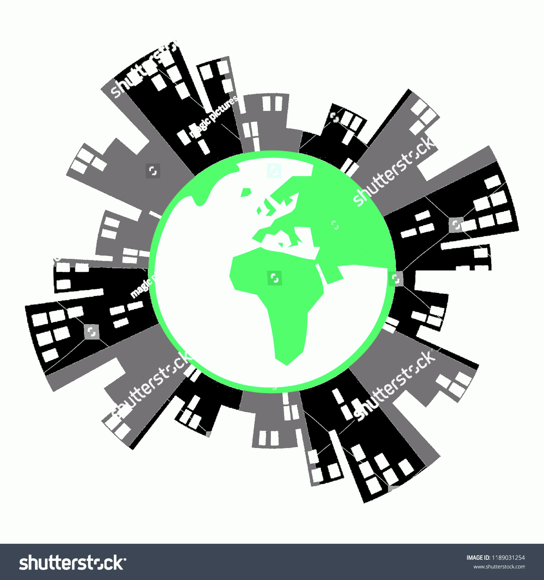 Earth With Buildings Vector: Vector Illustration Green Earth Globe City