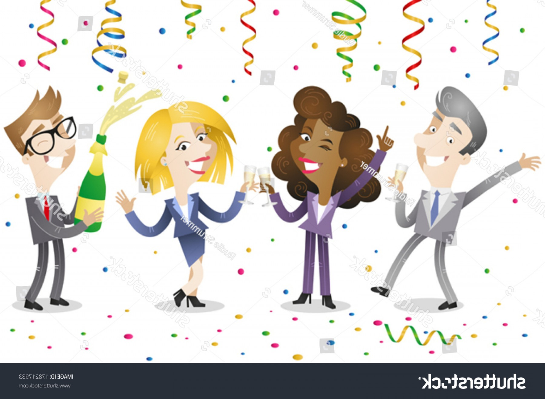 Happy Workplace Anniversary Vector: Vector Illustration Group Happy Cartoon Business
