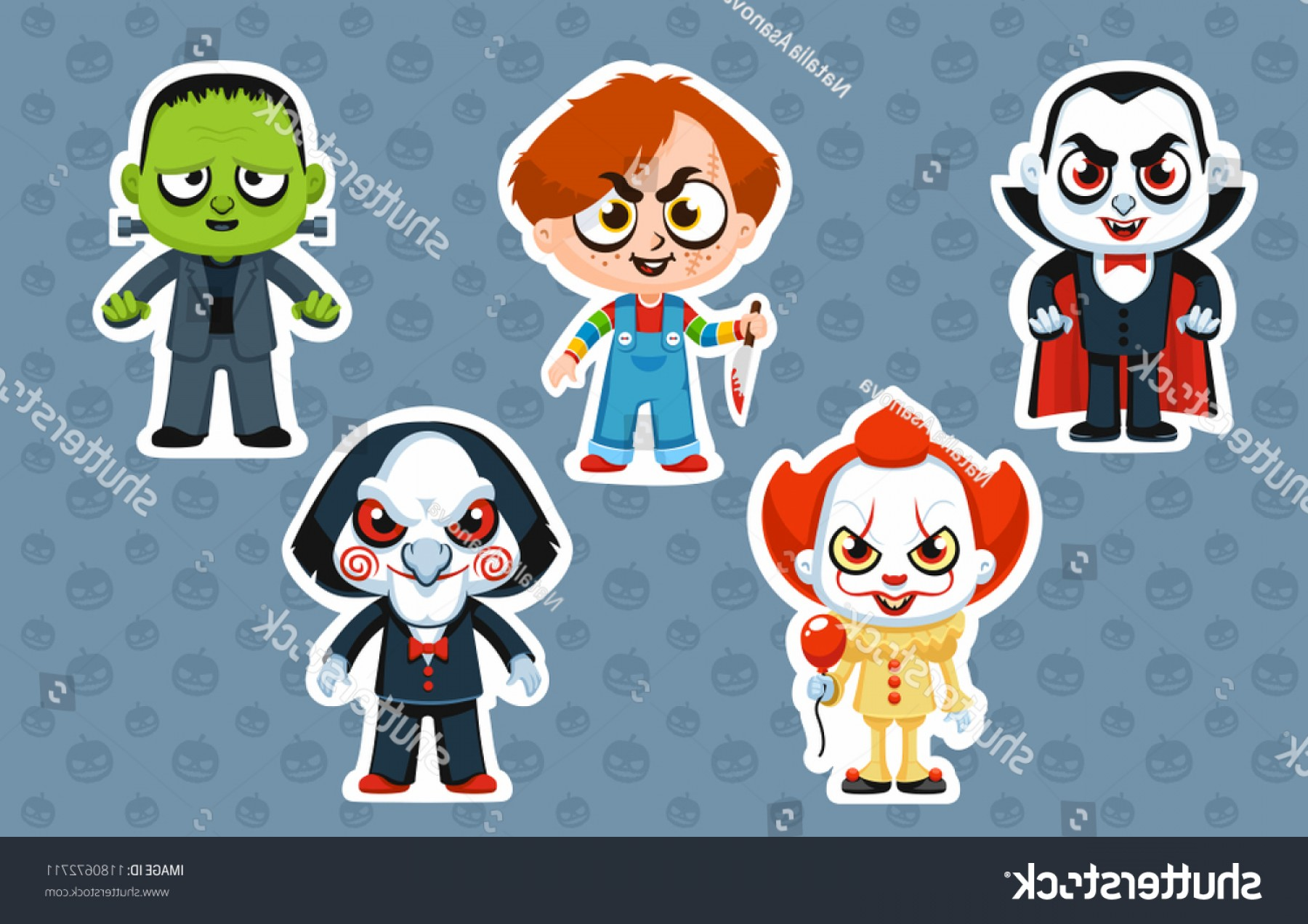 Pennywise Clown Vector: Vector Illustration Halloween Costume Characters Stickers