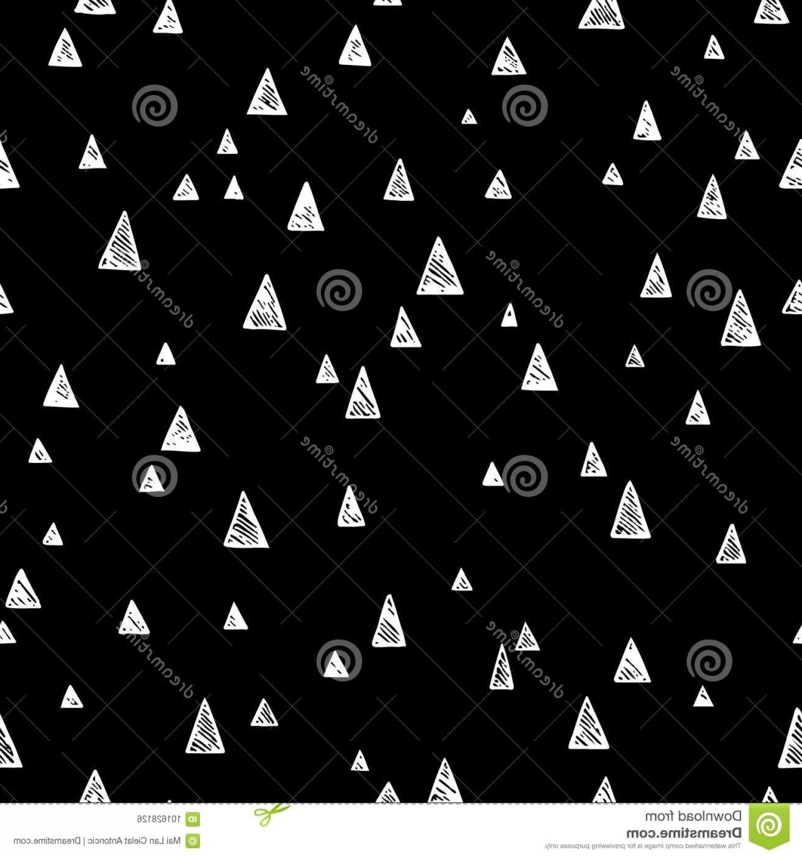 Black And White Negative Vector: Vector Illustration Hand Drawn Seamless Pattern Negative Black White Colors Different Size Triangles Seamless Image