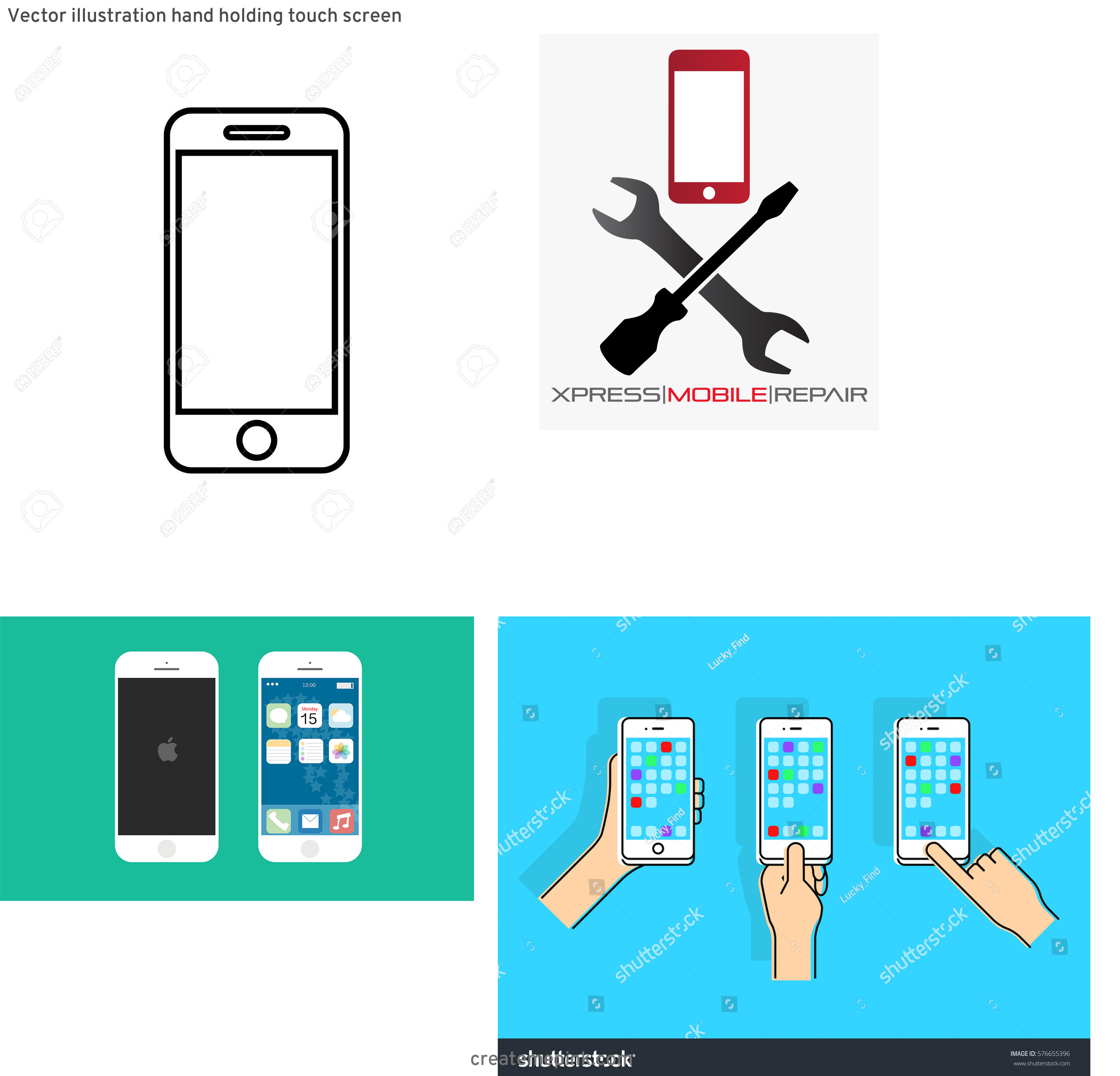 U.S. Cellular Phone Vector: Vector Illustration Hand Holding Touch Screen