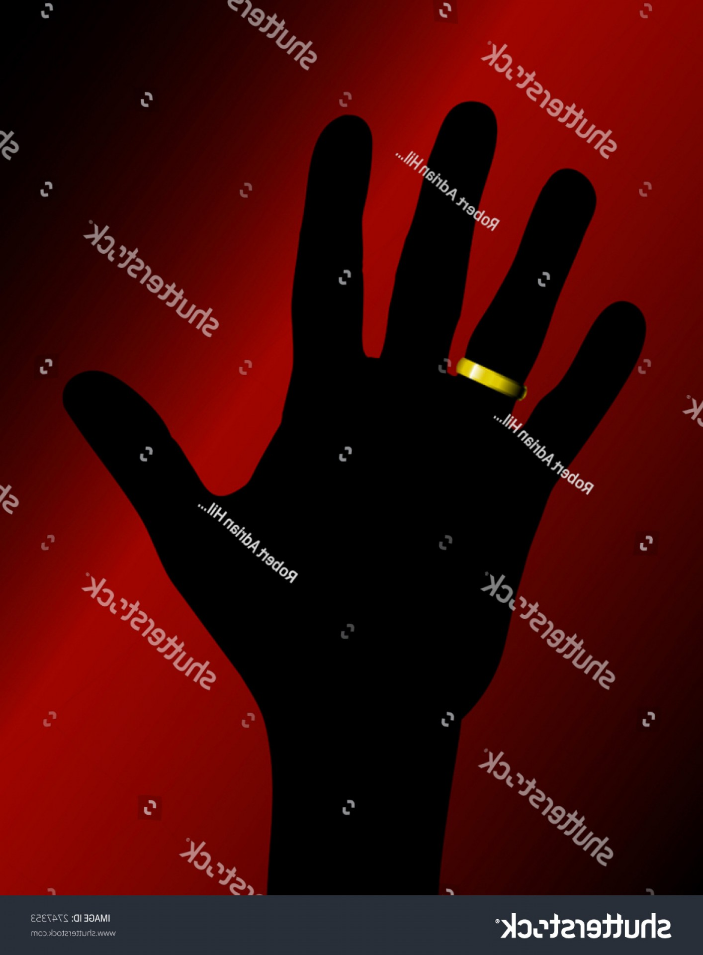 Hand With Ring Silhouette Vector: Vector Illustration Hand Silhouette Golden Ring