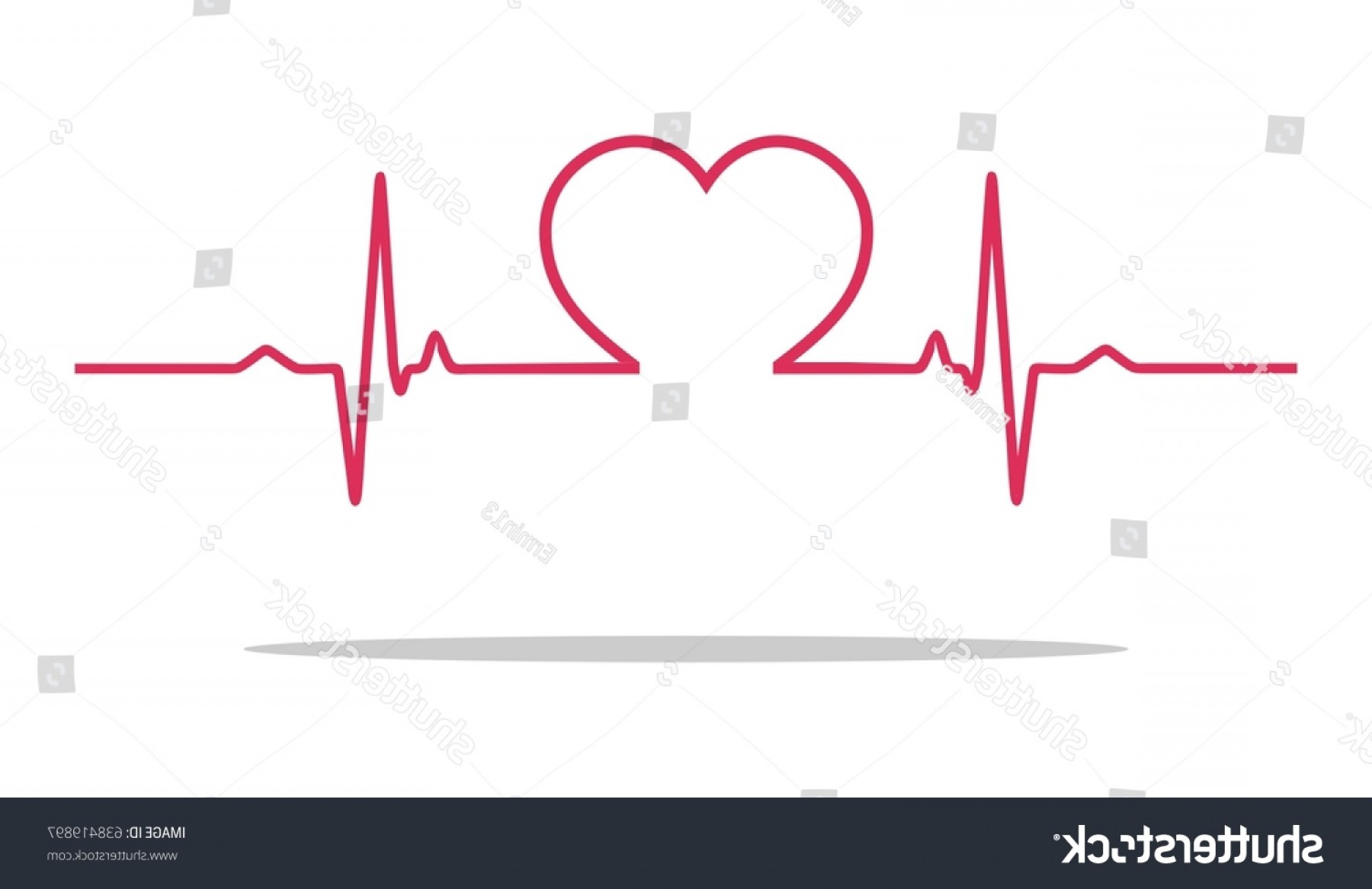 Heart With EKG Line Vector: Vector Illustration Heart Rhythm Ekg Ecg