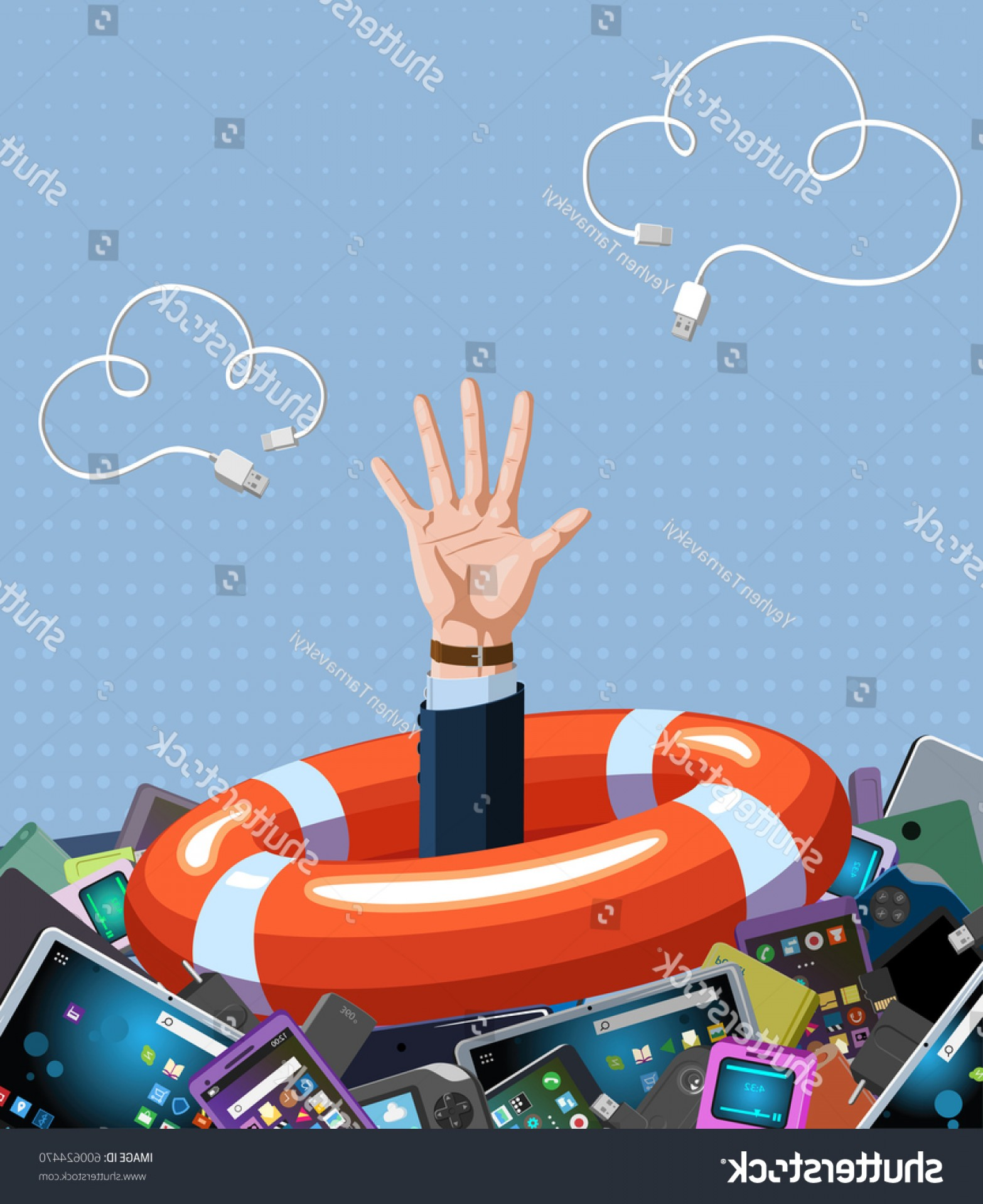 Man Drowning Vector: Vector Illustration Help Concept Man Drowning