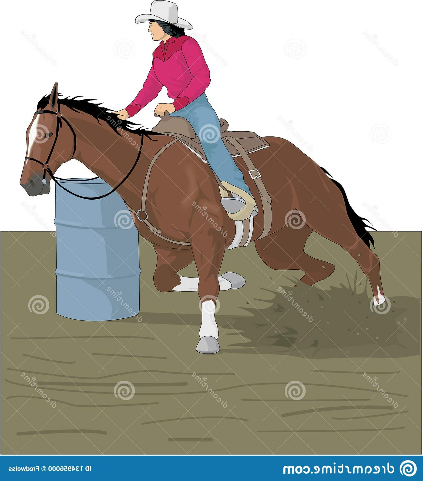 Barrel Racer Vector: Vector Illustration Horse Rider Barrel Race Rodeo Barrel Racing Vector Illustration Image