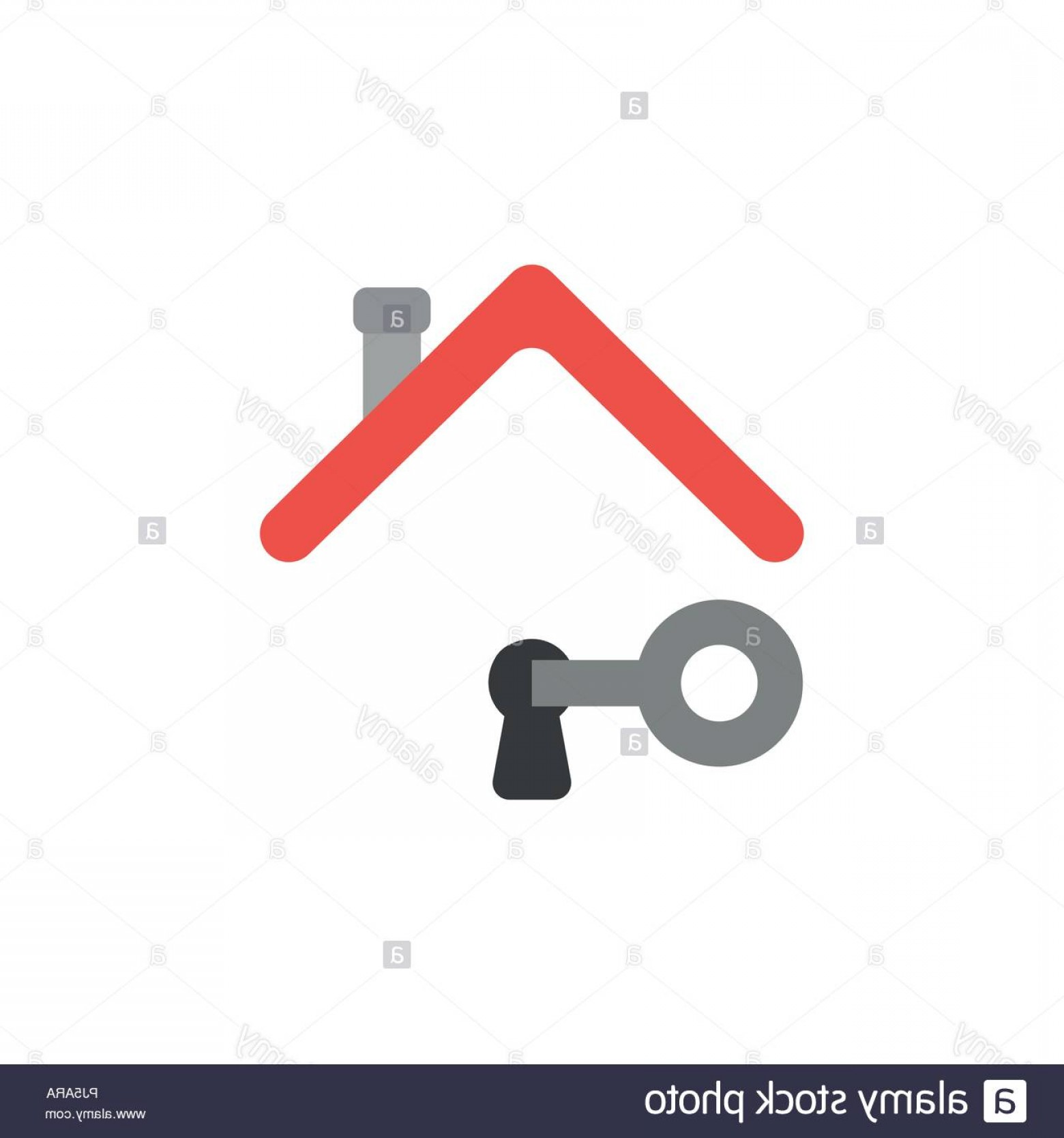 Keyholes And Key Vector Art: Vector Illustration Icon Concept Of Key Unlock Keyhole Under House Roof Image