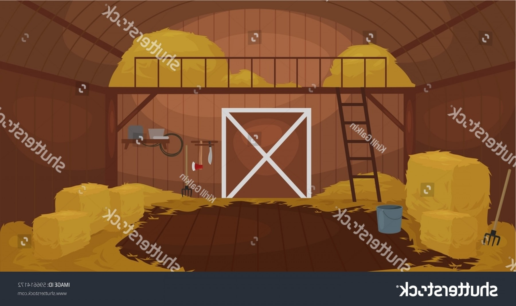 Shed PNG Vector: Vector Illustration Inside Old Wooden Barn