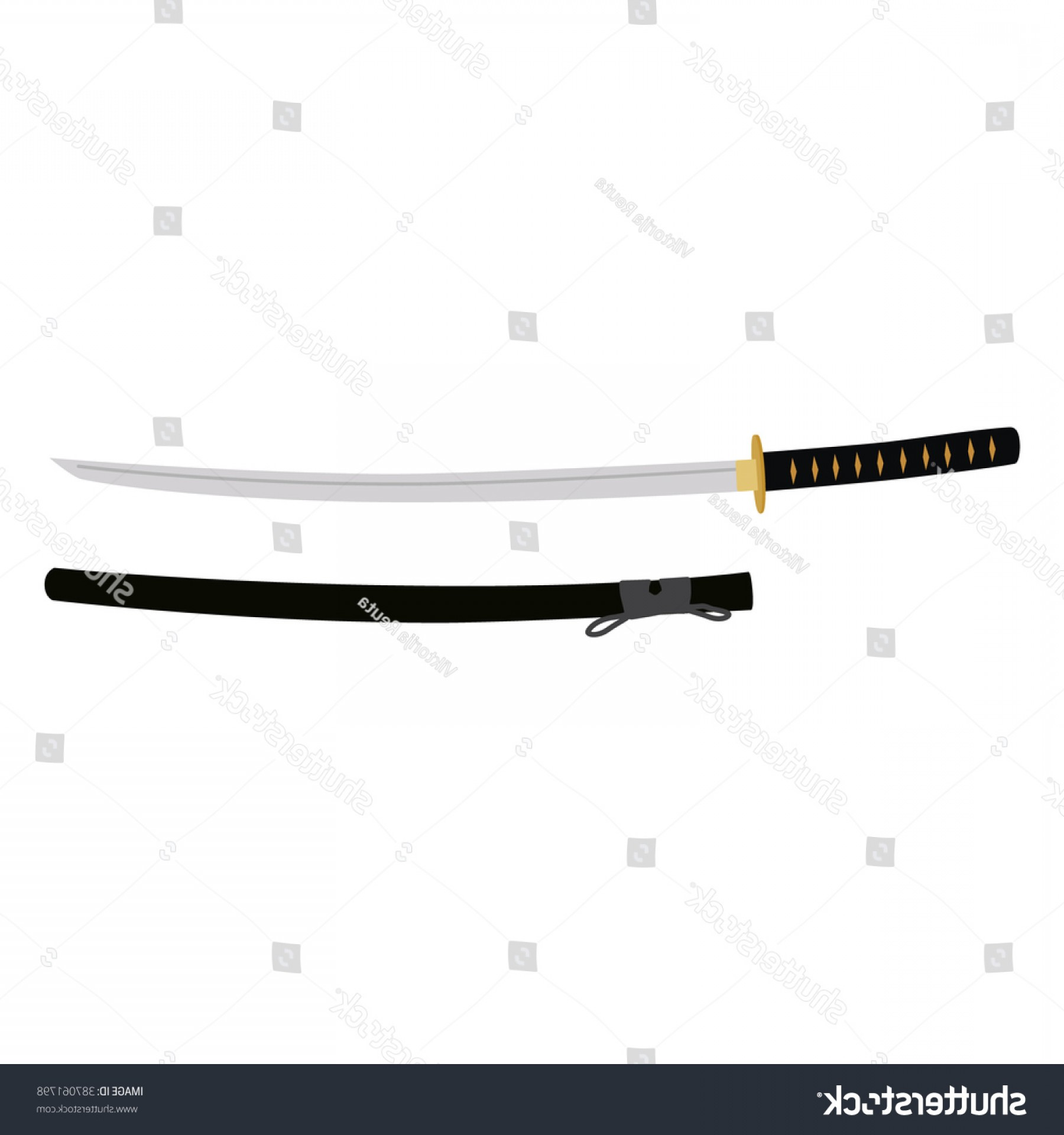 Samuri Sword Vector: Vector Illustration Japanese Katana Sword Scabbard