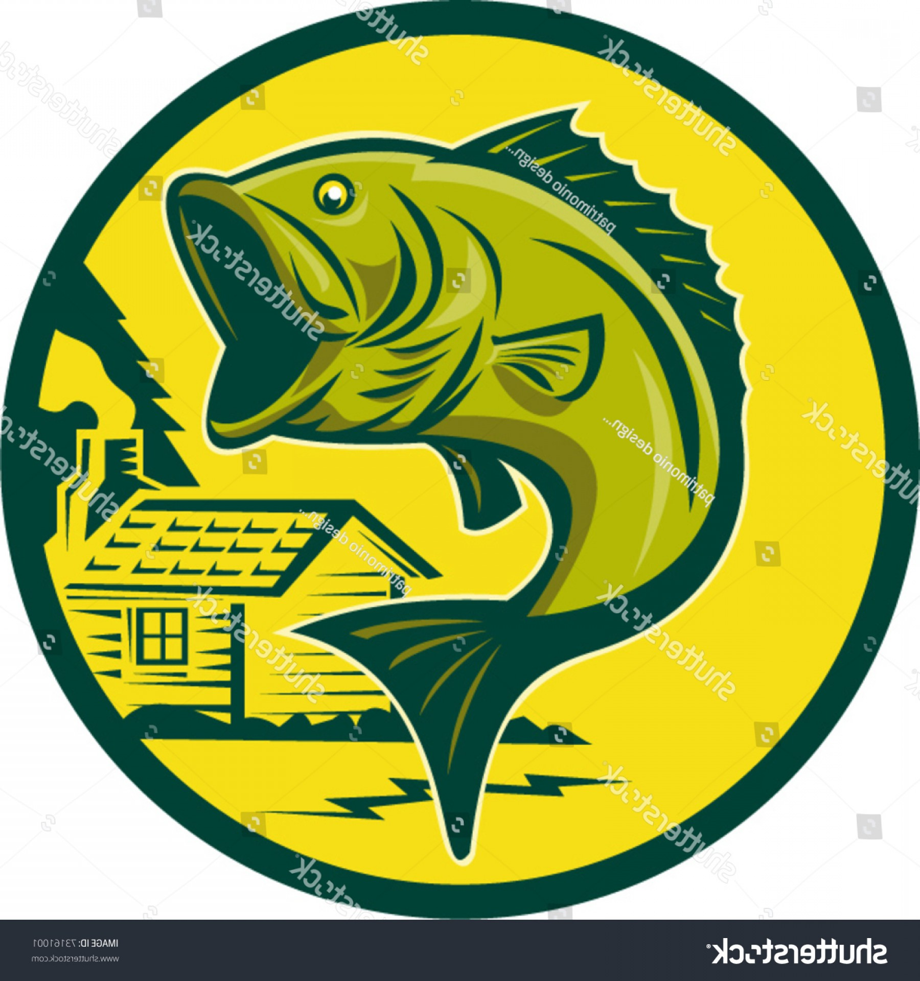 Largemouth Bass Silhouette Vector: Vector Illustration Largemouth Bass Fish Jumping