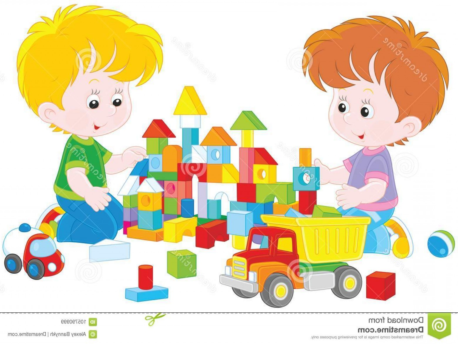 Vector Block Play: Vector Illustration Little Children Building Toy Castle Colored Bricks Boys Playing Image