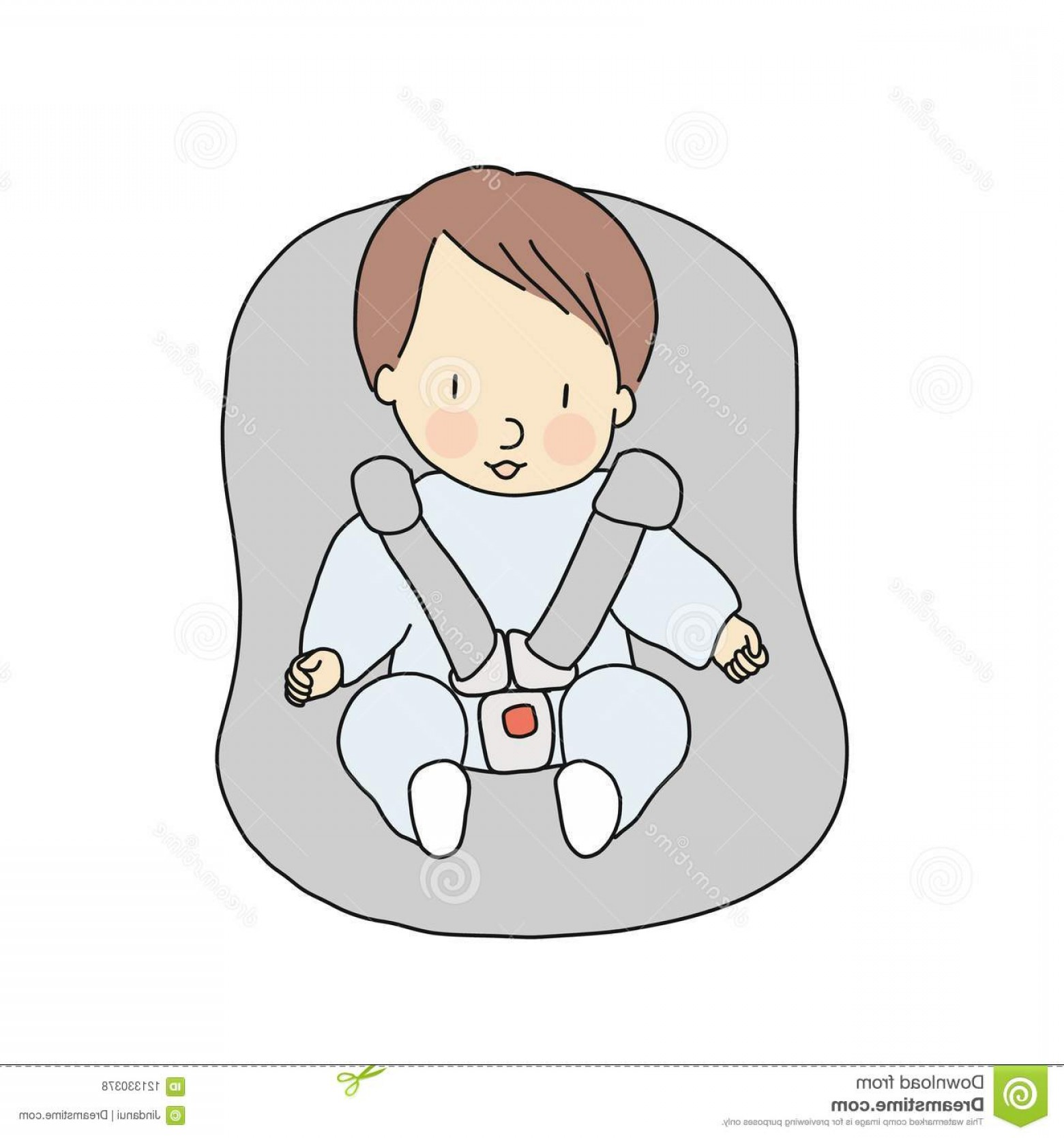 Vector Baby Seat: Vector Illustration Little Infant Sitting Car Seat Baby Safety Concept Cartoon Character Drawing Style Vector Illustration Image