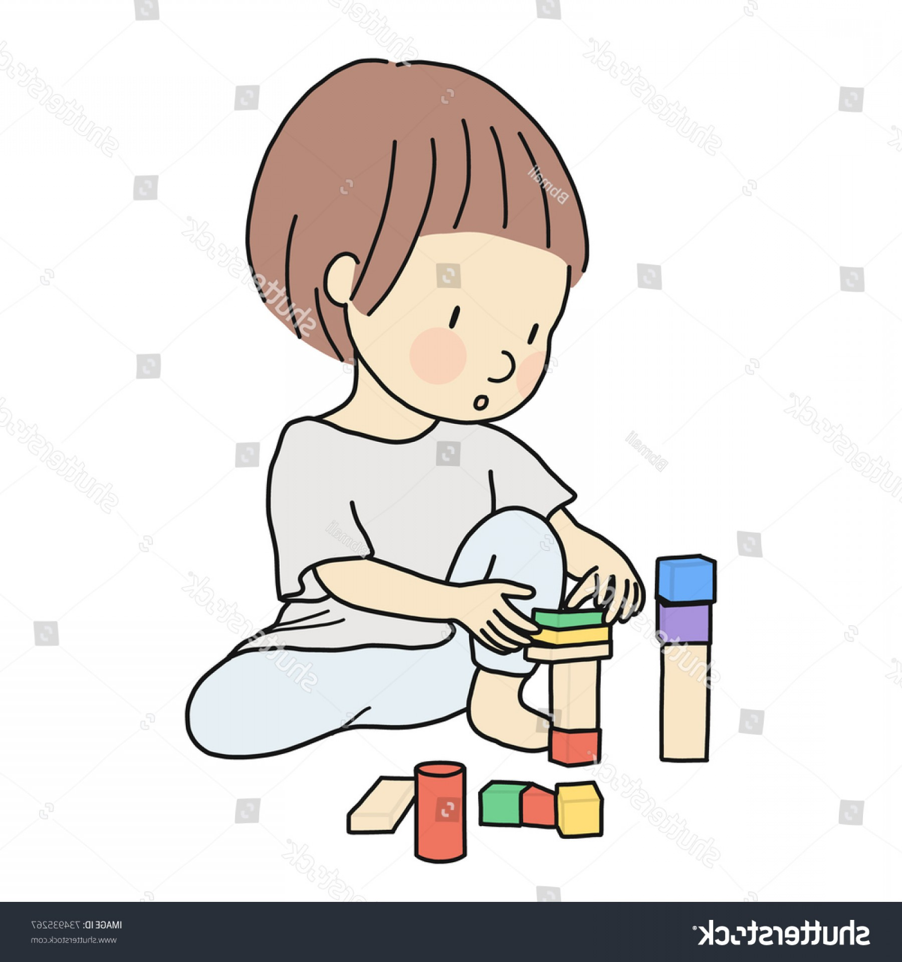 Vector Block Play: Vector Illustration Little Kid Playing Building