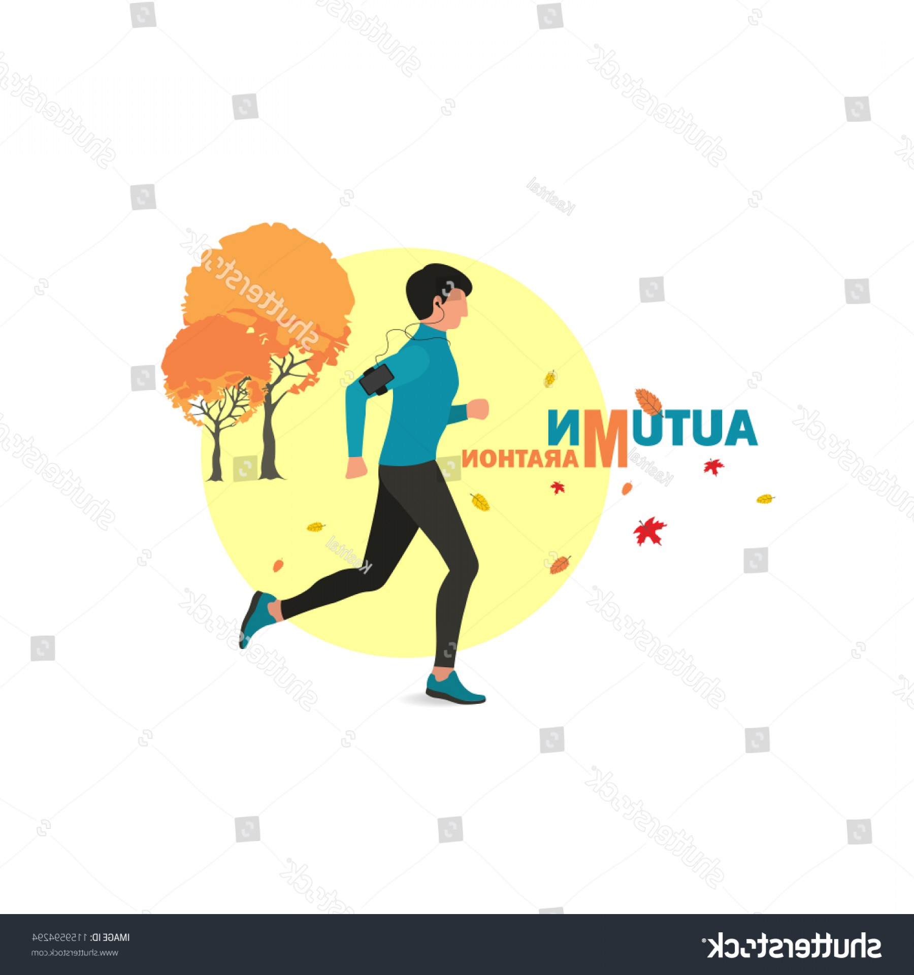 Shutterstock Vector Design With Runner: Vector Illustration Male Runner Icon Flat