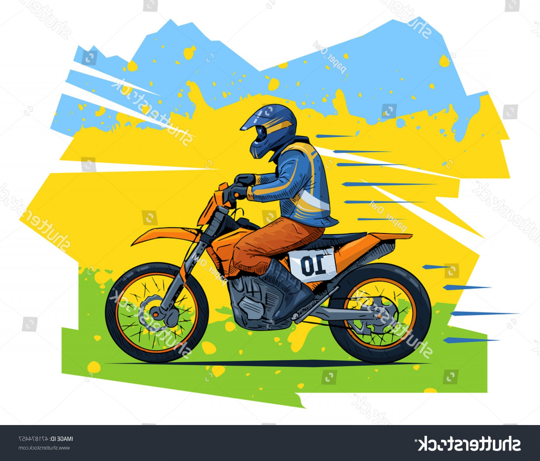 Dirt Bike Gas Can Vector: Vector Illustration Man Riding Motorcycle Beautiful