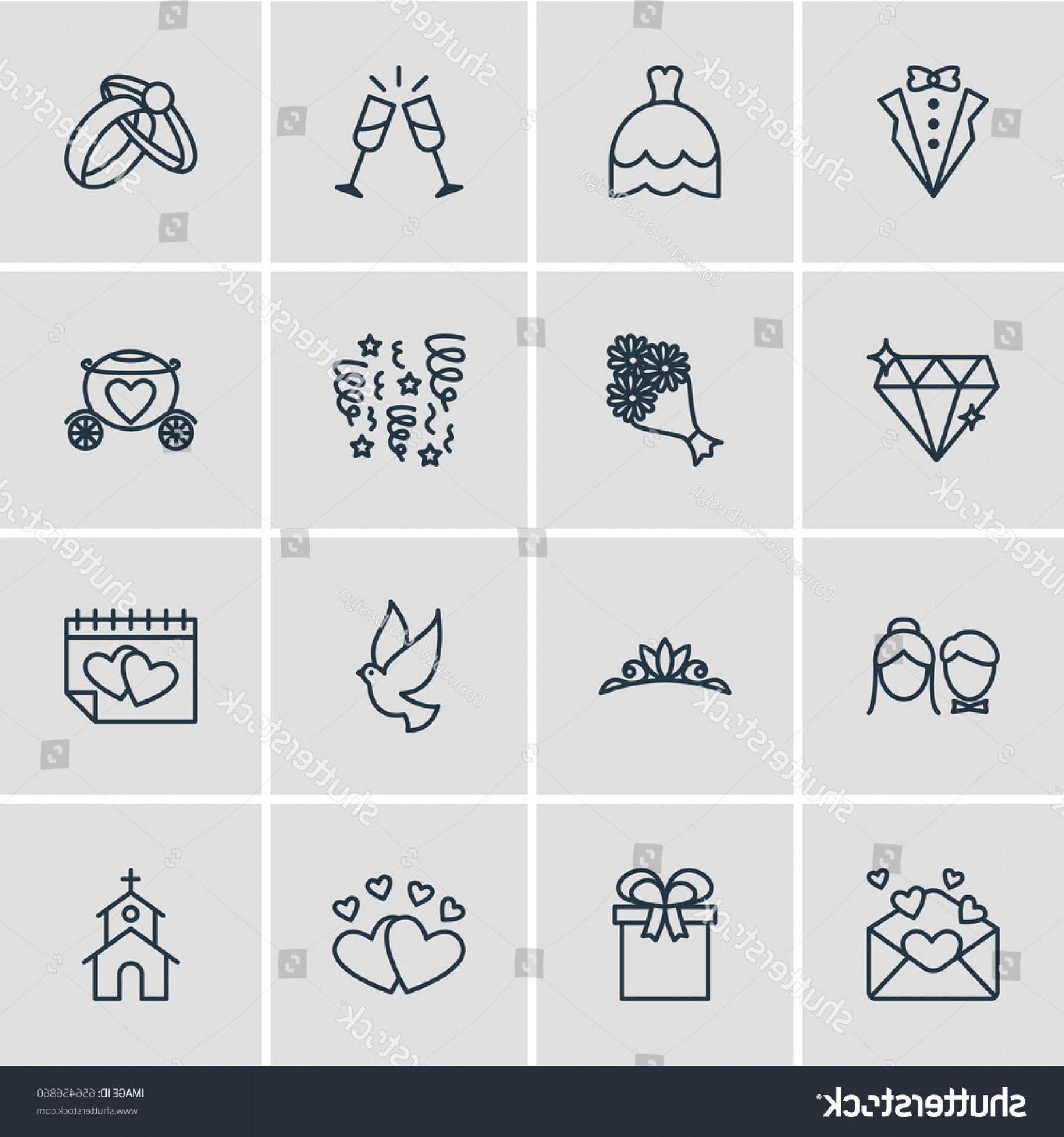 Vector Jeweled Dog Collar: Vector Illustration Marriage Icons Editable