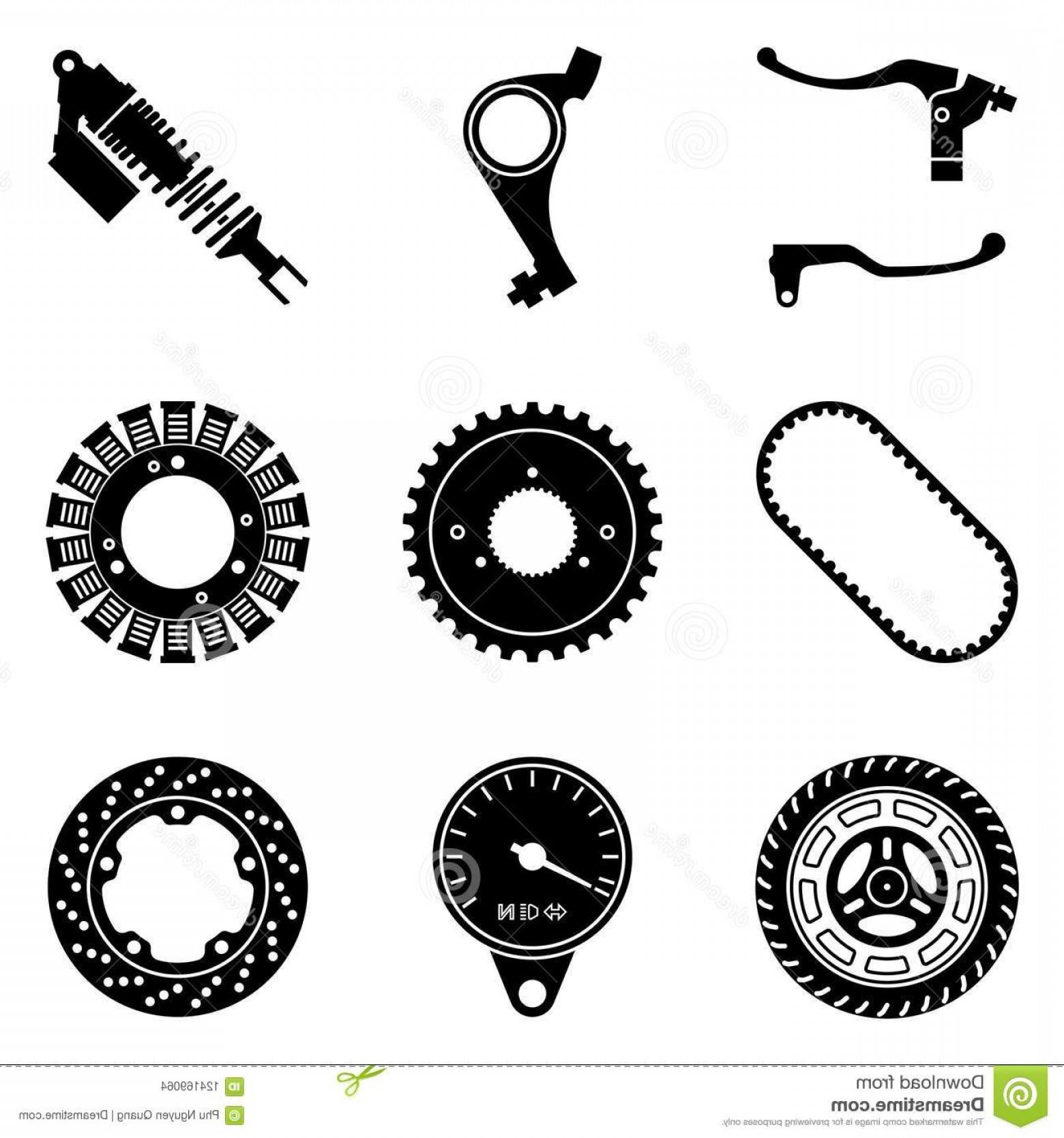 Vector Motorcycle Parts: Vector Illustration Motorbike Parts Repair Maintenance Set Motorcycle Parts Icons Silhouette Vector Image
