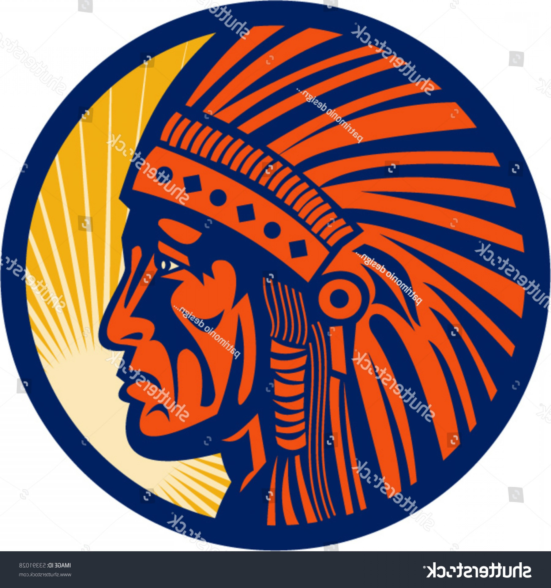 American Indian Chief Vector: Vector Illustration Native American Indian Chief