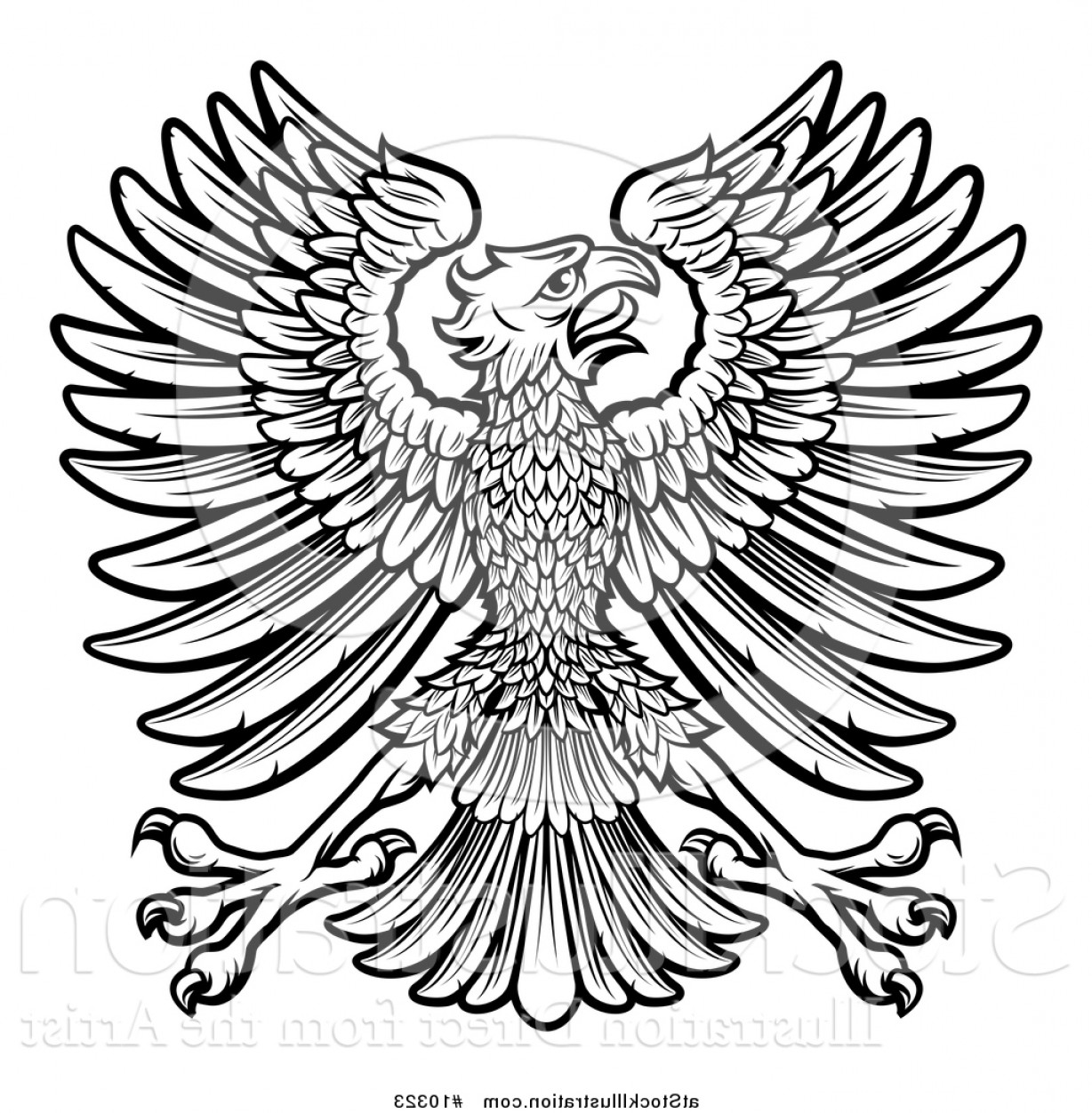 Vector Hi Res Black And White Wing: Vector Illustration Of A Black And White Imperial Coat Of Arms Eagle By Atstockillustration