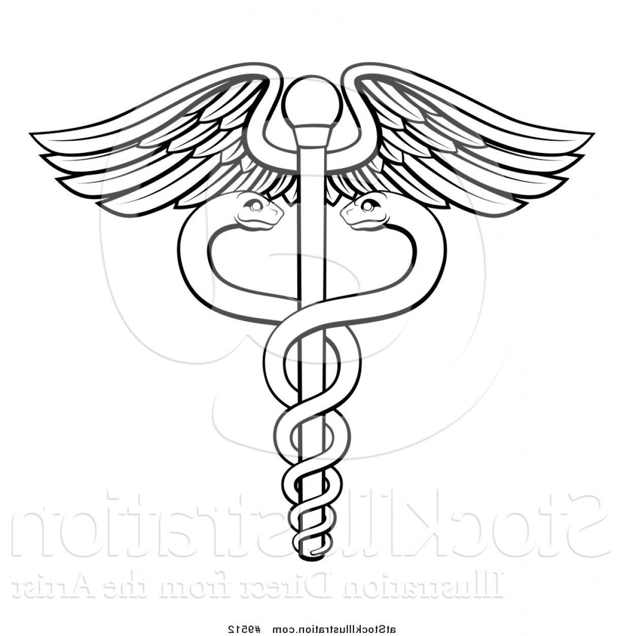 Vector Hi Res Black And White Wing: Vector Illustration Of A Black And White Lineart Medical Caduceus With Snakes On A Winged Rod By Atstockillustration