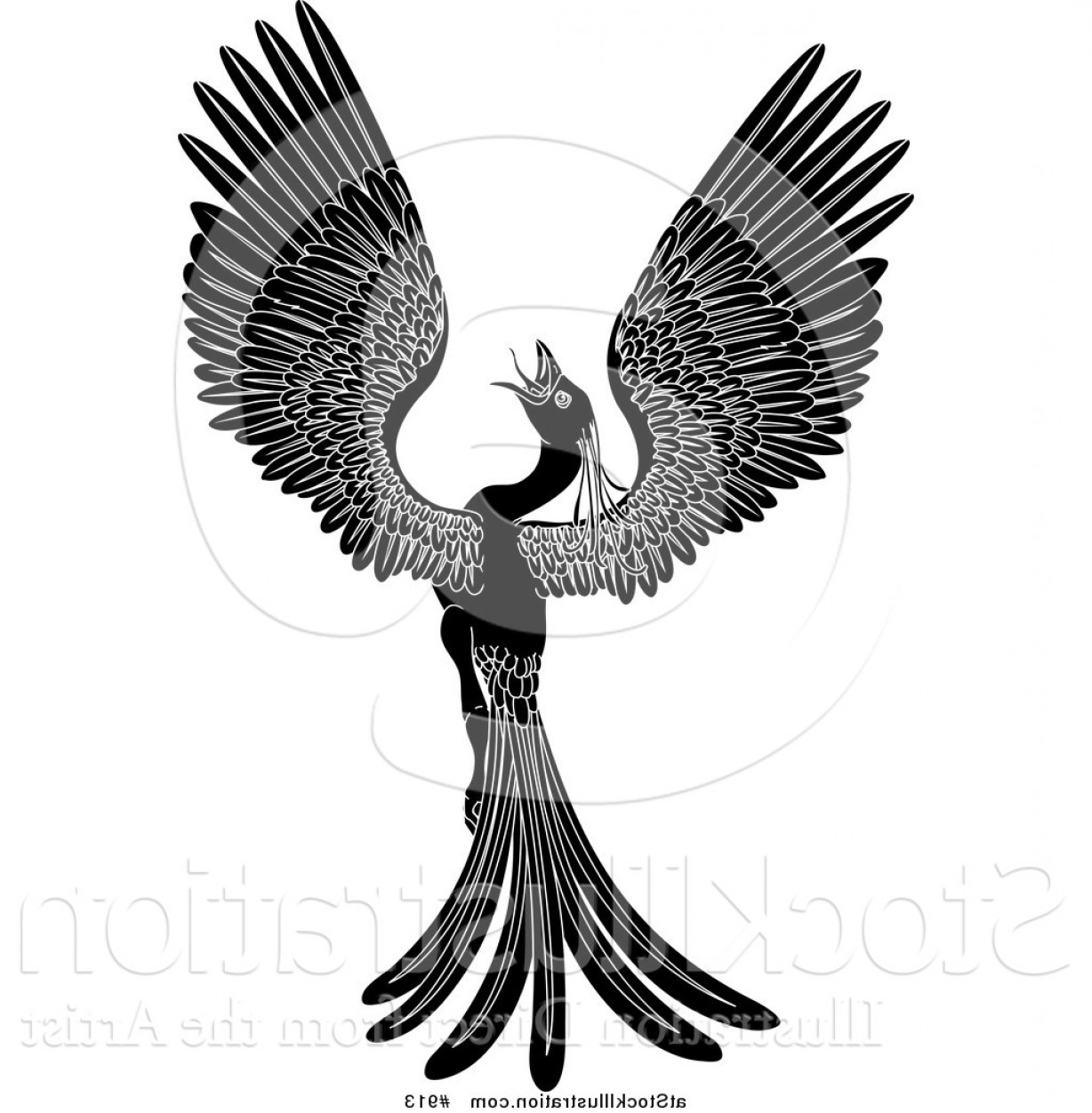 Vector Hi Res Black And White Wing: Vector Illustration Of A Black And White Majestic Phoenix Fantasy Bird Opening Its Wings By Atstockillustration