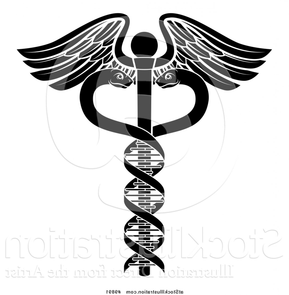 Vector Hi Res Black And White Wing: Vector Illustration Of A Black And White Medical Caduceus With Dna Strand Snakes On A Winged Rod By Atstockillustration