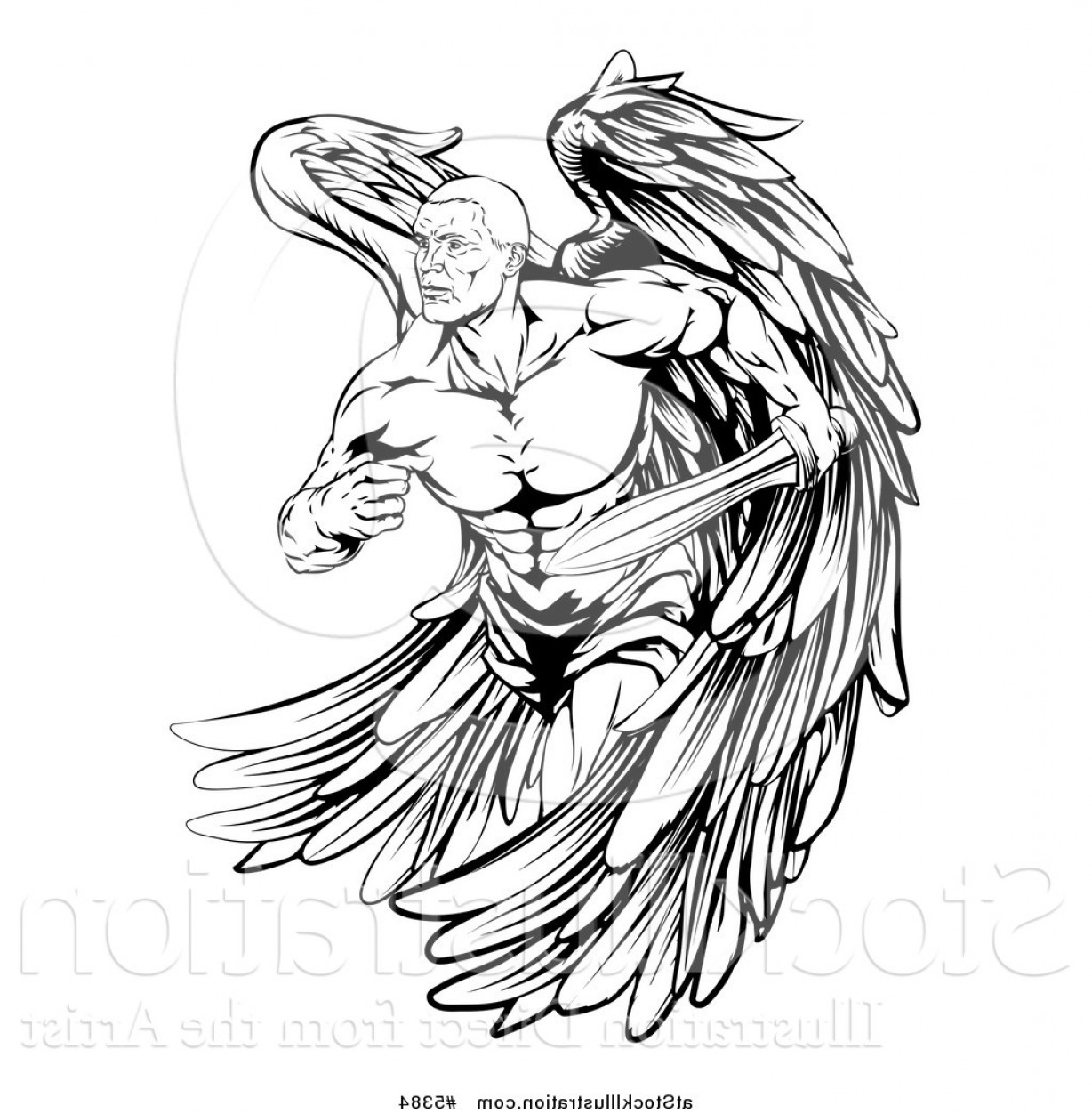 Vector Hi Res Black And White Wing: Vector Illustration Of A Black And White Muscular Male Guardian Angel With A Sword By Atstockillustration