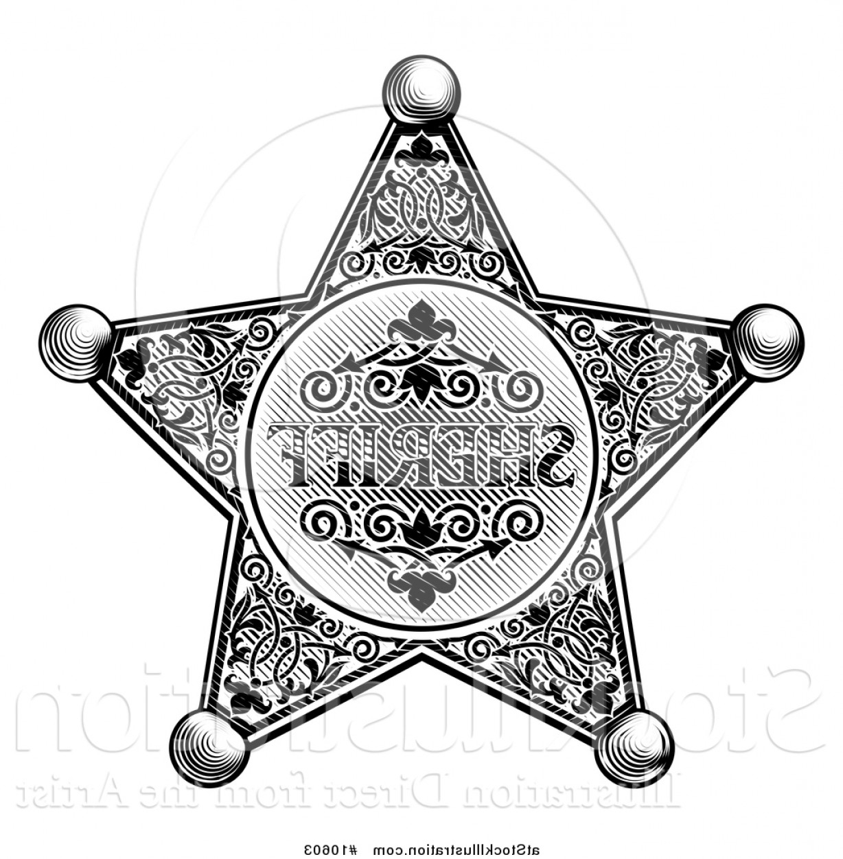 Star Badge Vector: Vector Illustration Of A Black And White Vintage Etched Engraved Sheriff Star Badge By Atstockillustration