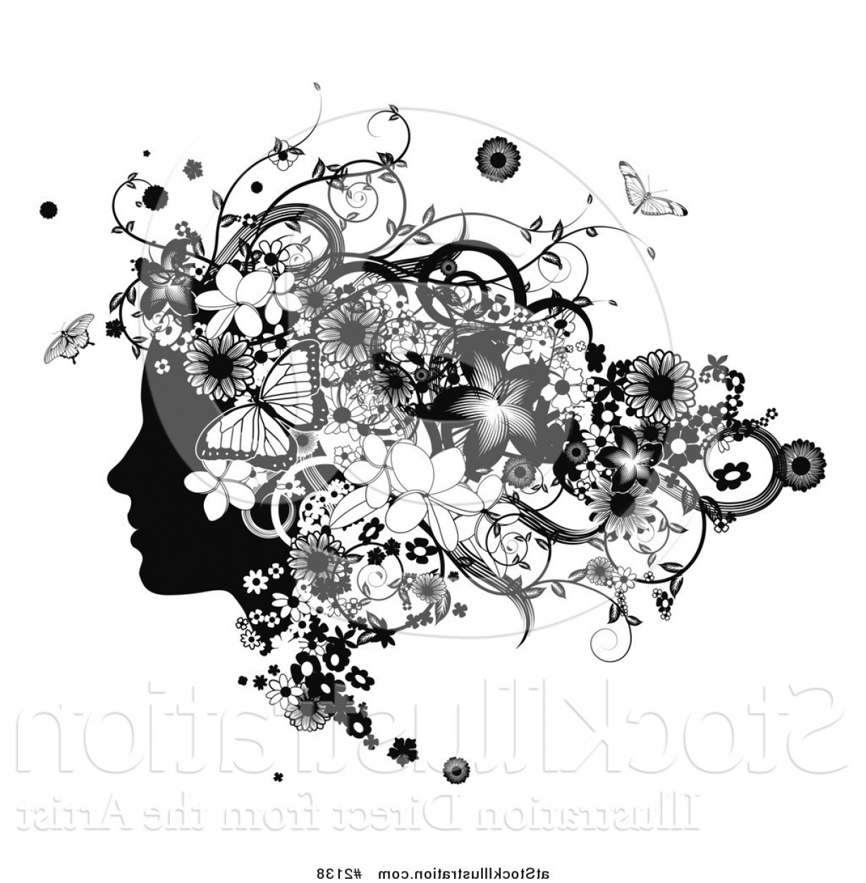 Butter Fly And Flower Vector Black And White: Vector Illustration Of A Black And White Womans Face In Profile With Flowers And Butterflies By Atstockillustration