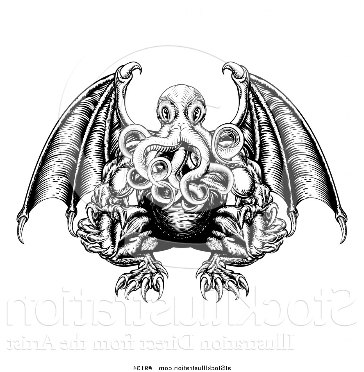 Vector Hi Res Black And White Wing: Vector Illustration Of A Black And White Woodblock Winged Octopus Cthulhu Monster By Atstockillustration