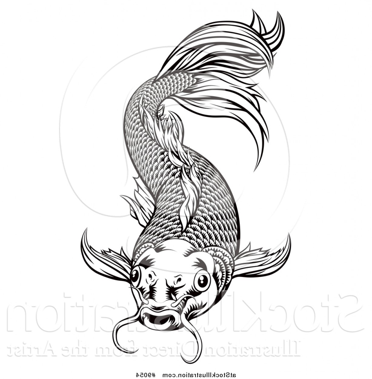 Black And White Koi Vector: Vector Illustration Of A Black And White Woodcut Oriental Styled Koi Fish By Atstockillustration