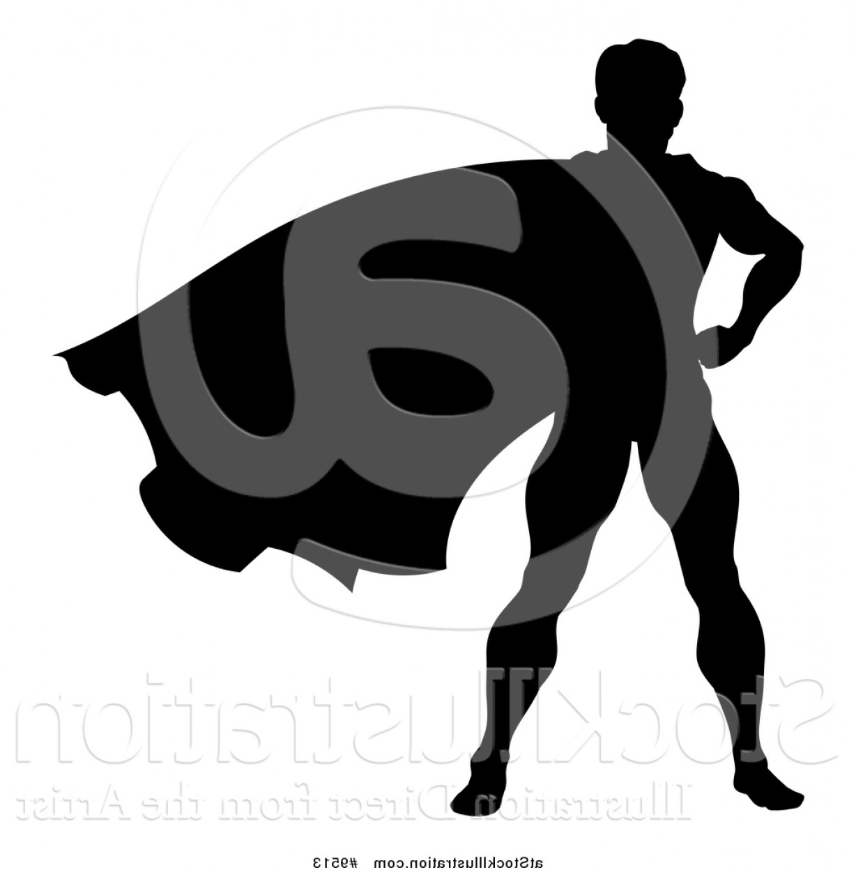 Superman Black And White Vector: Vector Illustration Of A Black Silhouetted Male Super Hero With His Cape Flying By Atstockillustration