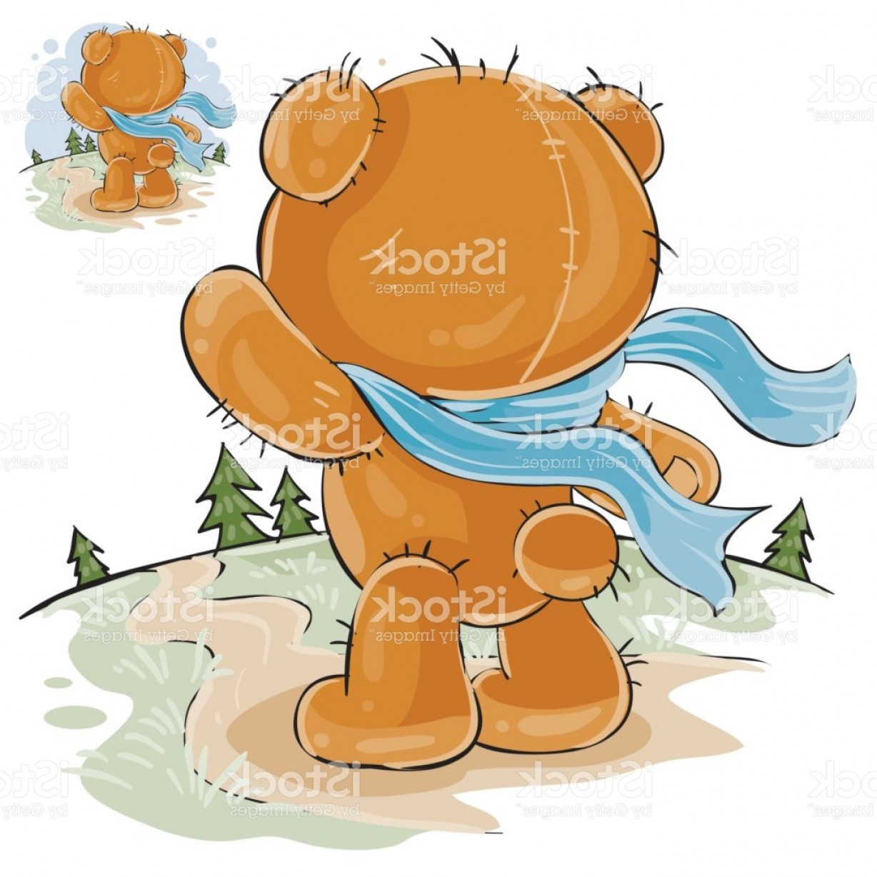 Road Sign Silhouette Vector Bear: Vector Illustration Of A Brown Teddy Bear Sad Standing In The Wind Looking At The Gm