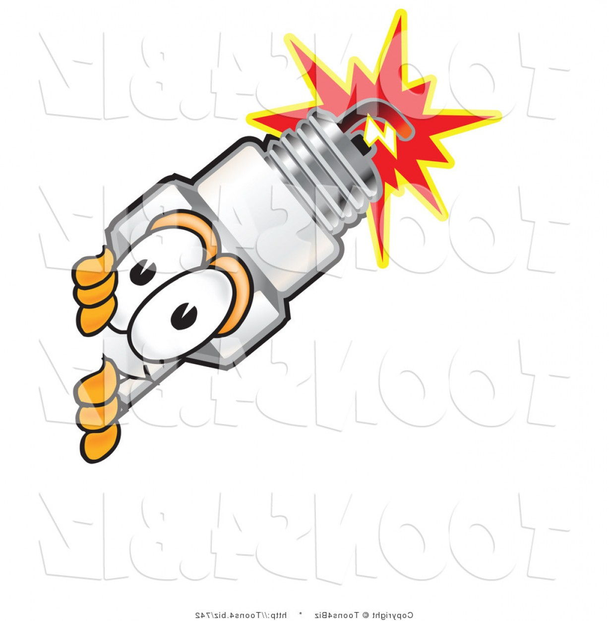 Spark Plug Vector: Vector Illustration Of A Cartoon Spark Plug Mascot Peeking Around A Corner By Toonsbiz