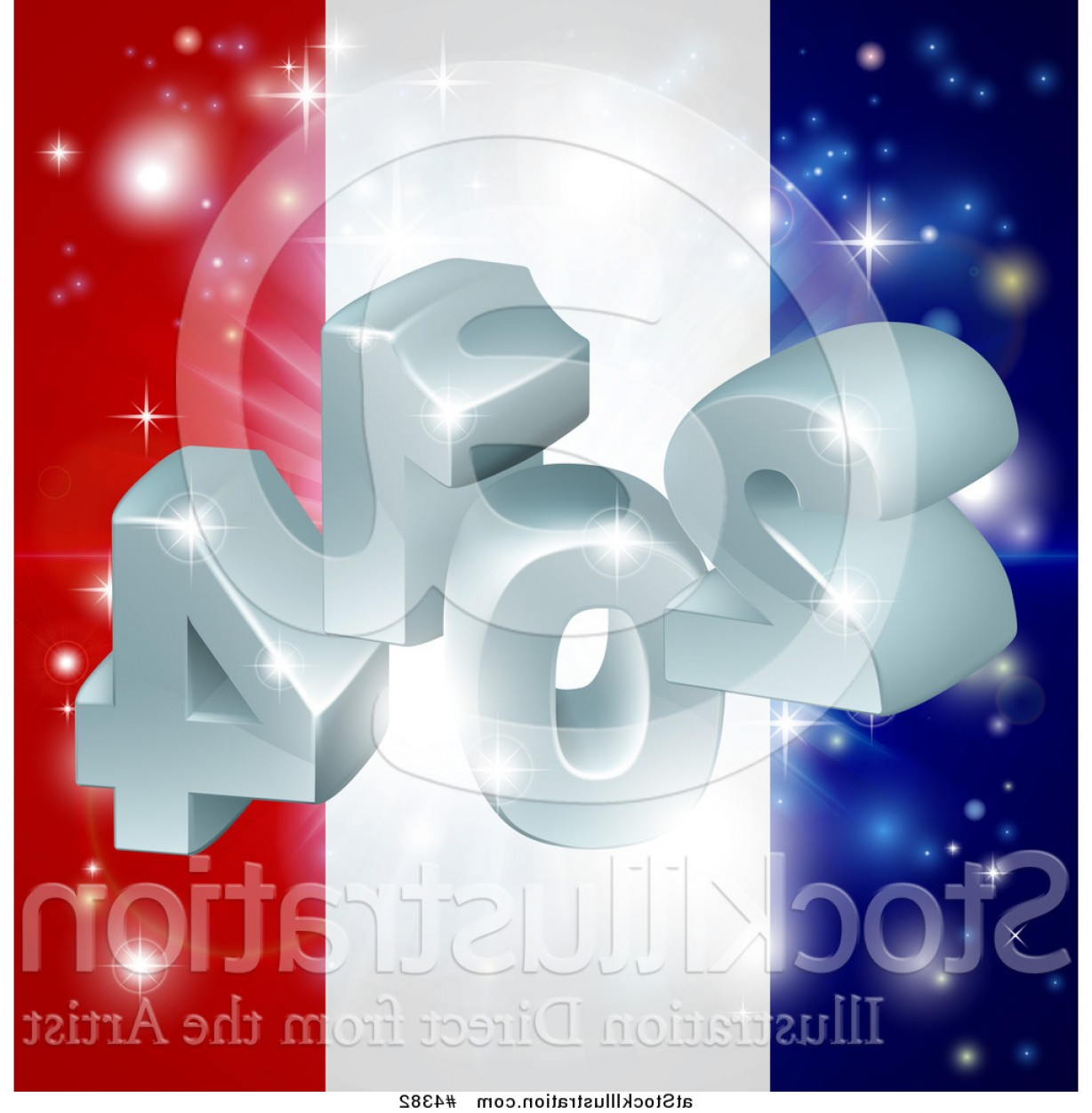 Vector 3D 2014: Vector Illustration Of A D And Fireworks Over A French Flag By Atstockillustration