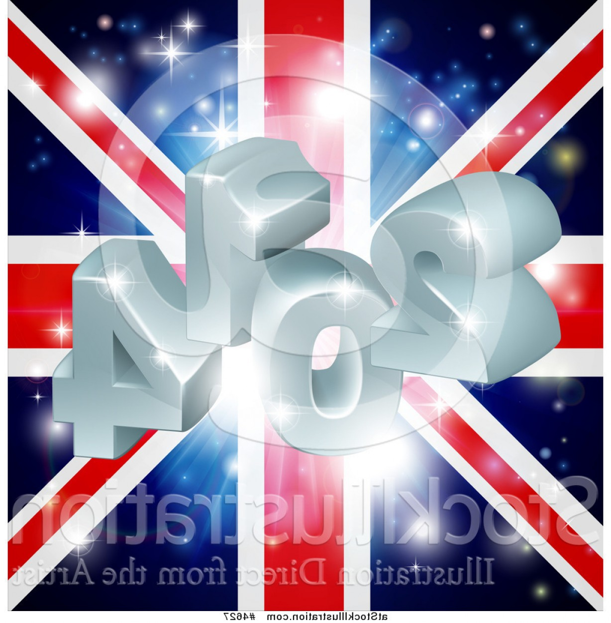 Vector 3D 2014: Vector Illustration Of A D And Fireworks Over A Union Jack Flag By Atstockillustration