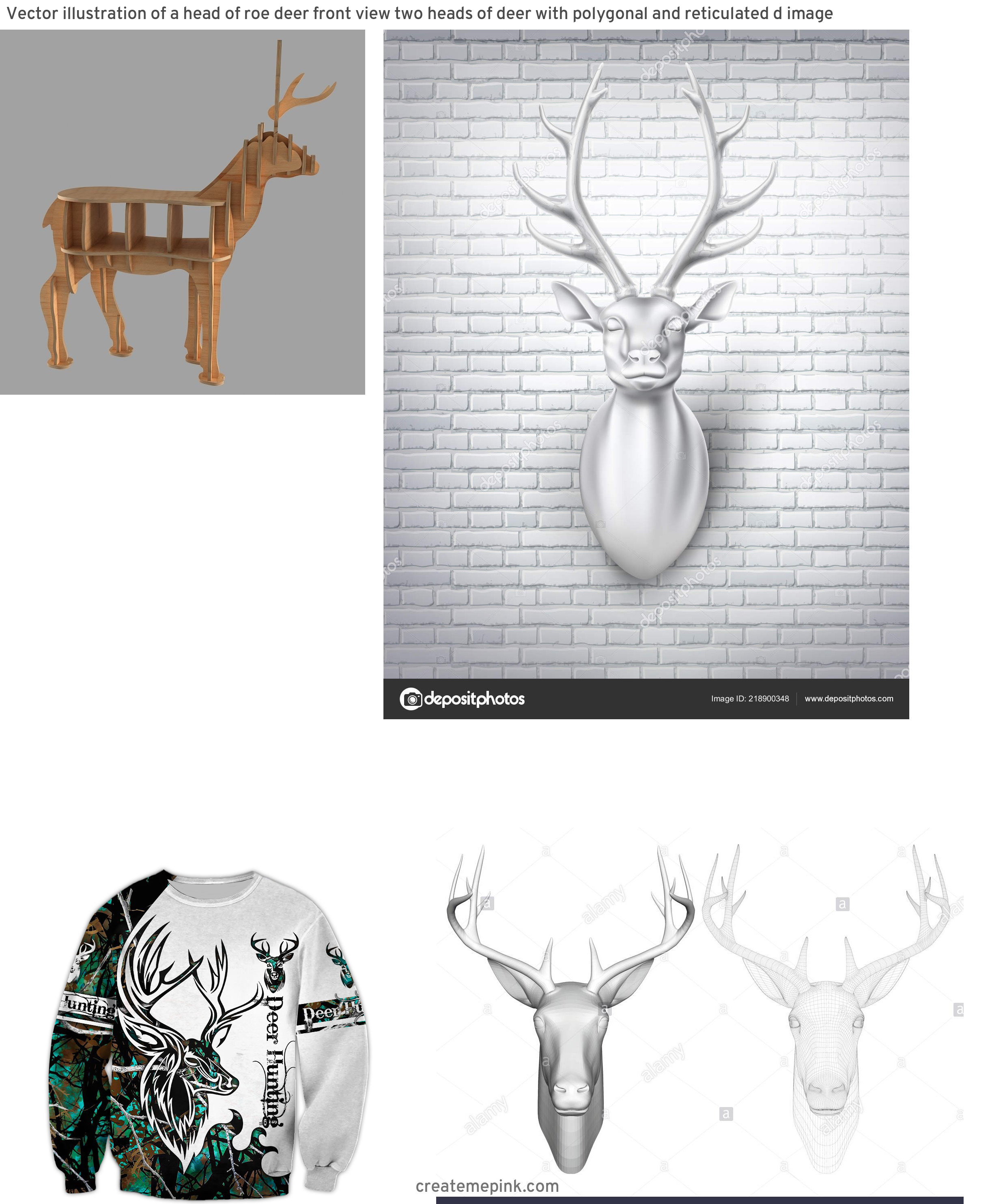 3D Vector Of A Deer: Vector Illustration Of A Head Of Roe Deer Front View Two Heads Of Deer With Polygonal And Reticulated D Image