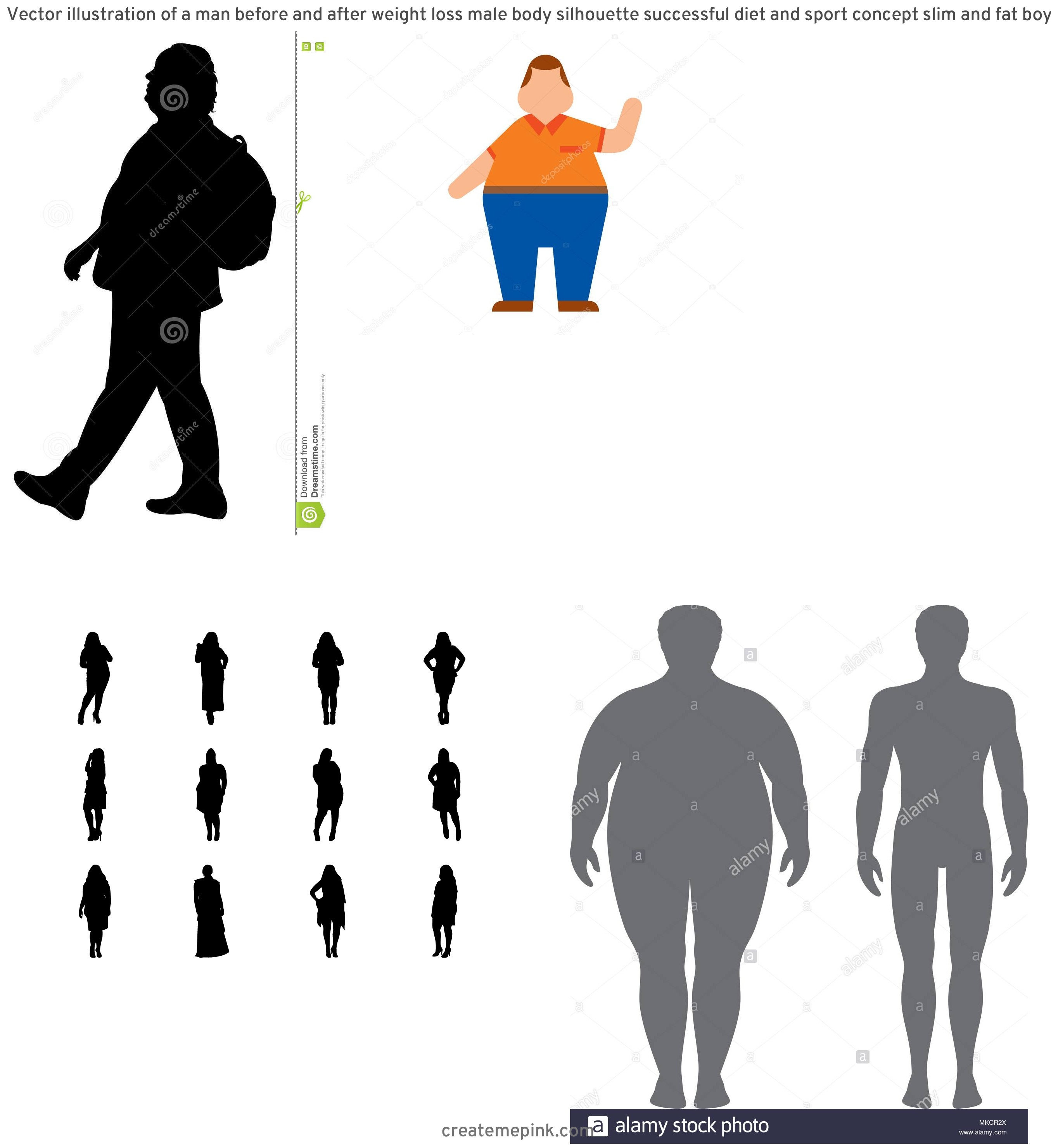 People Silhouette Vector Illustration Of Fat: Vector Illustration Of A Man Before And After Weight Loss Male Body Silhouette Successful Diet And Sport Concept Slim And Fat Boys Image