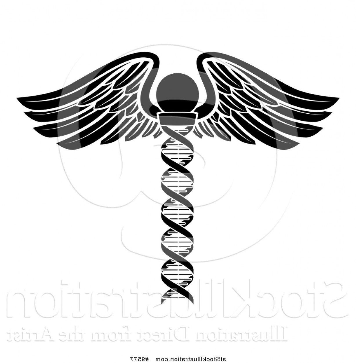 Vector Hi Res Black And White Wing: Vector Illustration Of A Medical Symbol Winged Dna Strand Rod Caduceus White And Black Version By Atstockillustration