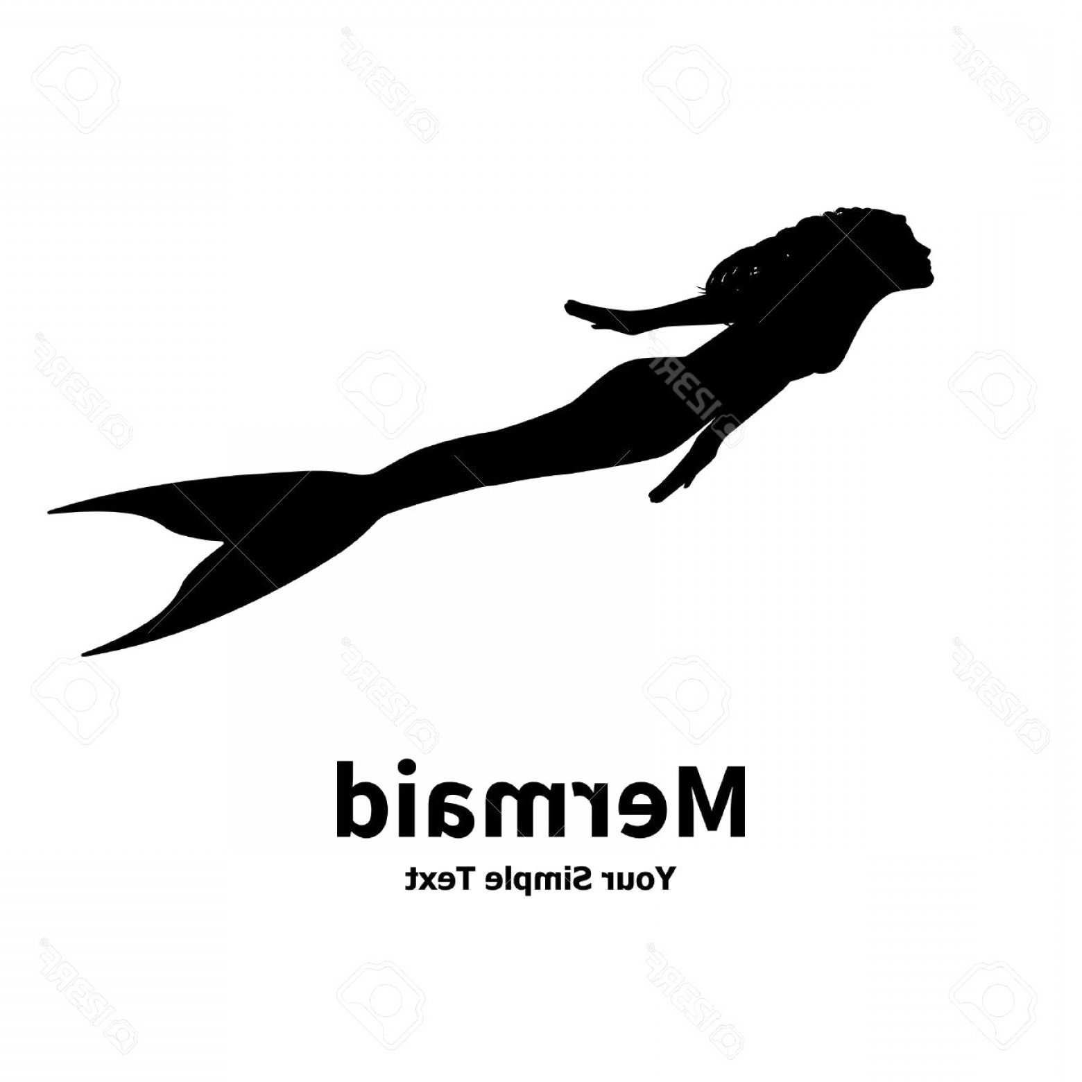 Atlanta Falcons Logo Vector Silhouette: Vector Illustration Of A Mermaid Silhouette Isolated On White Background Sea Nymph With An Inscripti Simple