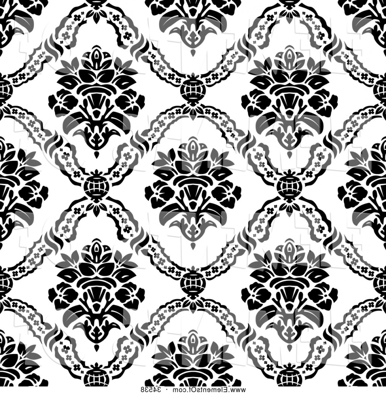Damask Background Vector Art: Vector Illustration Of A Seamless Backgorund Of Black Floral Damask Patterns On White By Bestvector