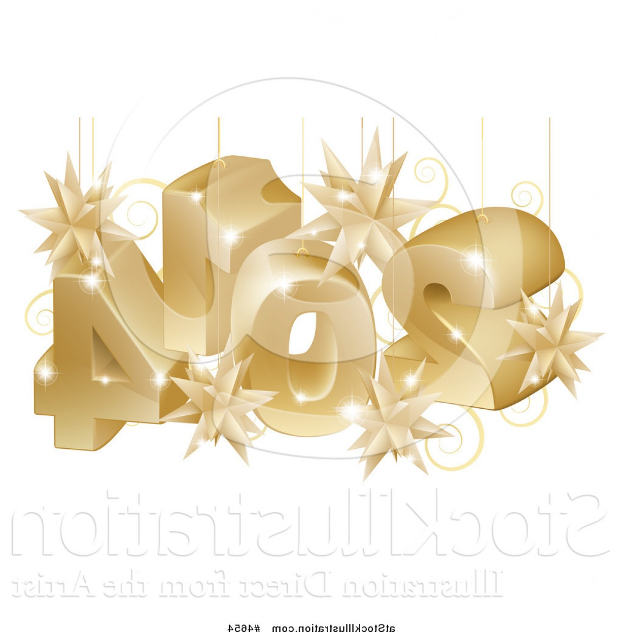 Vector 3D 2014: Vector Illustration Of A Suspended Gold D New Year Numbers With Stars By Atstockillustration