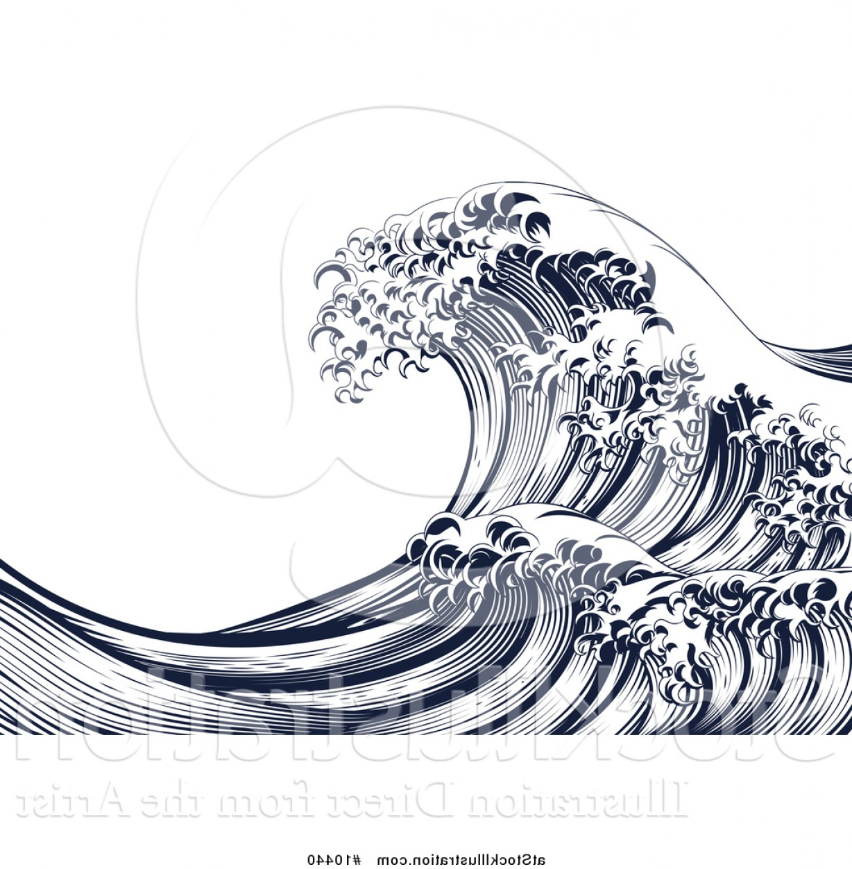 Ocean Wave Vector Illustration: Vector Illustration Of A Vintage Woodcut Engraved Japanese Styled Ocean Wave By Atstockillustration