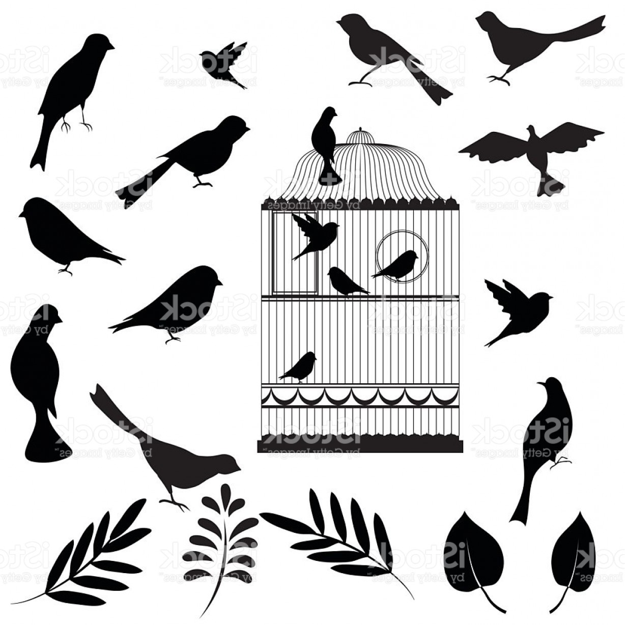 Owl Silhouette Vector Art: Vector Illustration Of Bird Cage Gm