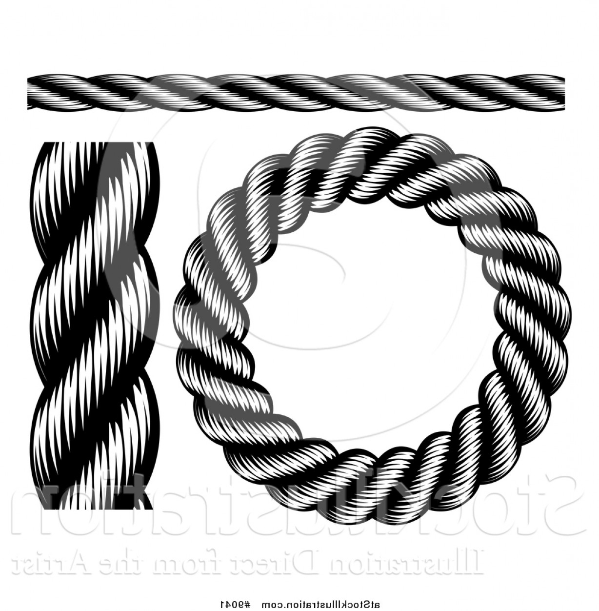 Design Vector Image Of Rope: Vector Illustration Of Black And White Woodcut Or Engraved Nautical Rope Design Elements By Atstockillustration