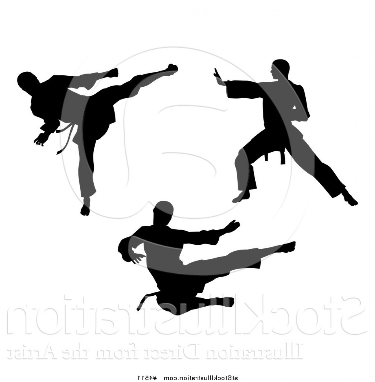 Karate Vector: Vector Illustration Of Black Silhouetted Karate And Martial Arts Men By Atstockillustration
