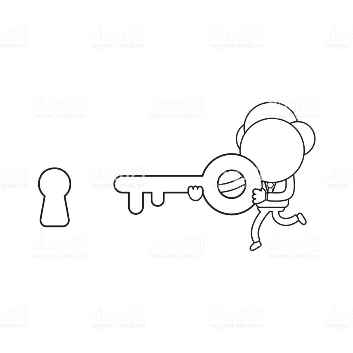 Keyholes And Key Vector Art: Vector Illustration Of Businessman Character Running And Carrying Key To Keyhole Gm
