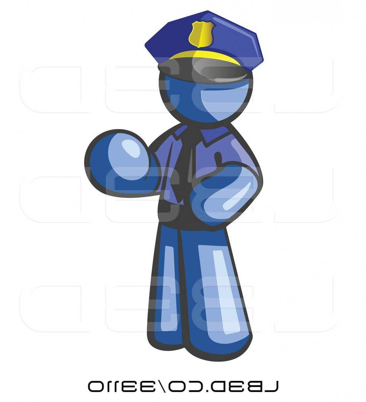 Vector Police Officer Kneeling: Vector Illustration Of Cartoon Blue Guy Police Officer By Leo Blanchette