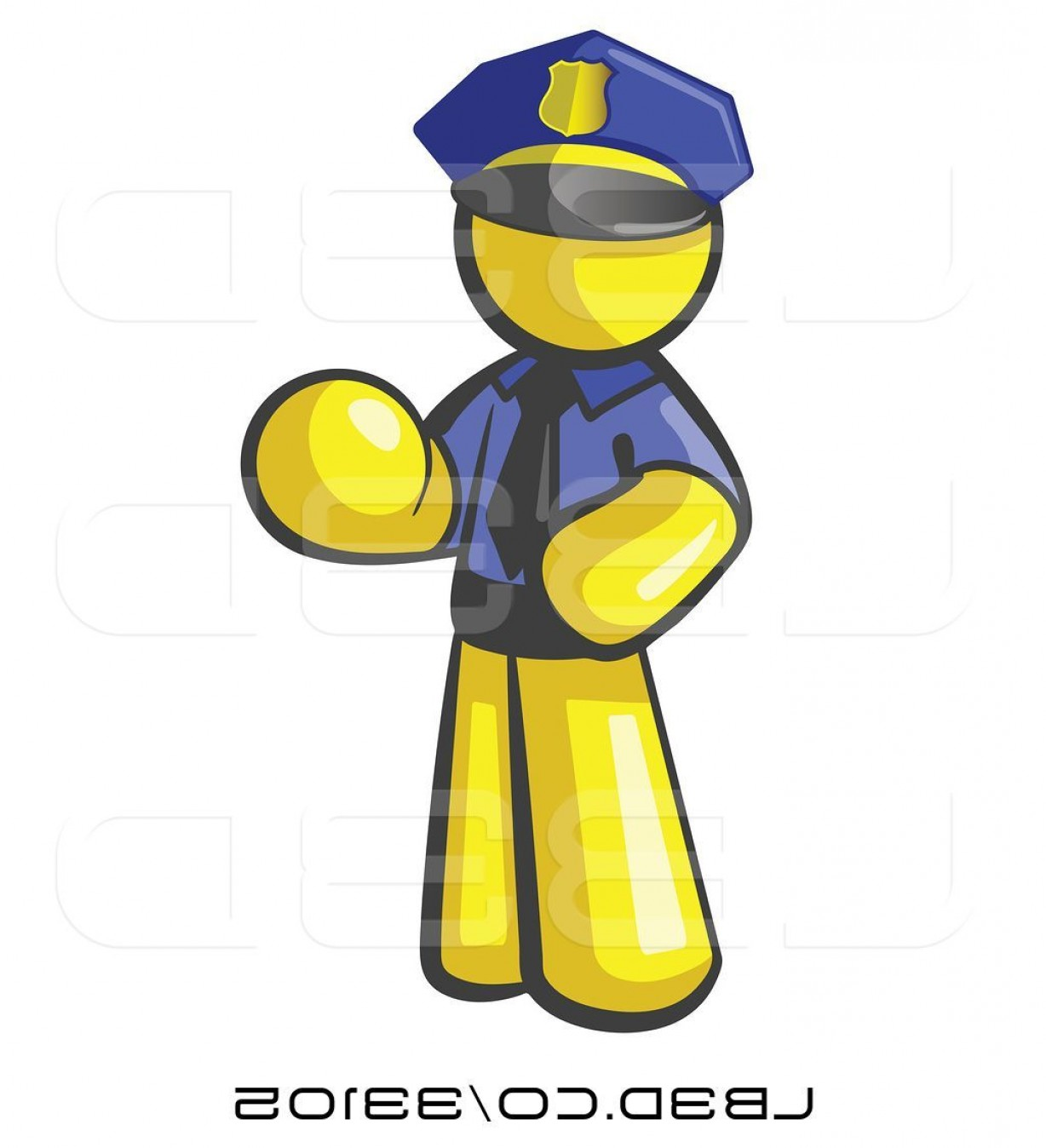 Vector Police Officer Kneeling: Vector Illustration Of Cartoon Yellow Guy Police Officer By Leo Blanchette