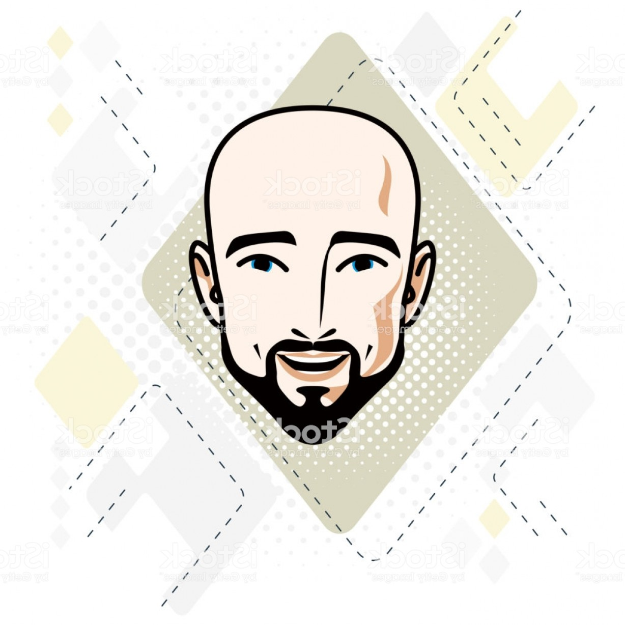 Handsome Man Vector Outline: Vector Illustration Of Handsome Hairless Male Face With Mustache And Beard Positive Gm