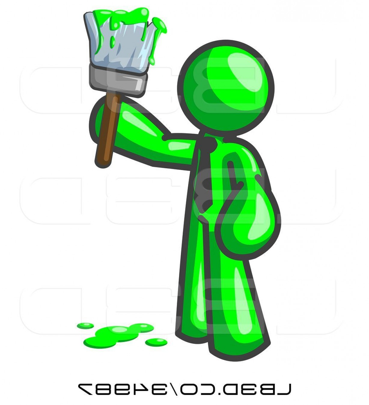 Dripping Paint Vector Illustration: Vector Illustration Of Lime Green Guy Painter Holding A Dripping Paint Brush By Leo Blanchette